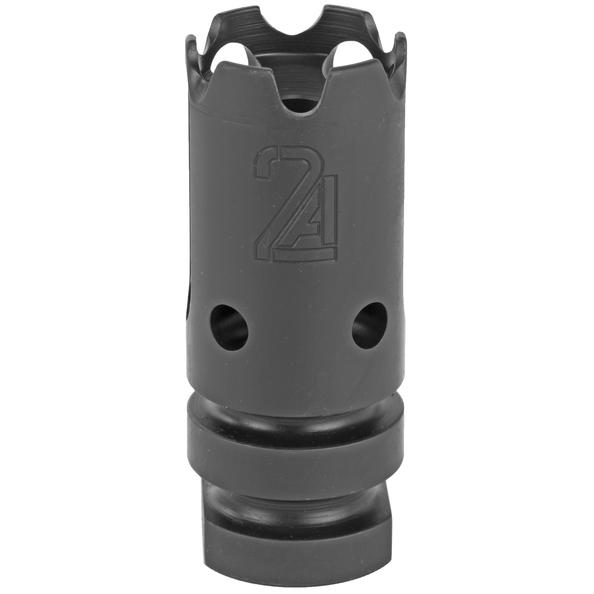 The development of the T3 compensator started with the need for a muzzle device that not only maintains a small size but also performs well within its intended use. The T3 is a dual baffle compensator that directs expelled gasses to control muzzle direction. The initial baffle directs gas in a geometrical pattern that stabilizes the rifle system. The second baffle system channels gasses upward to compensate for muzzle rise. This gives the shooter the ability to decrease the time between follow up shots and maintain control of muzzle direction. The T3 is a mounting solution for suppressors that mount via an A2 style flash hider.