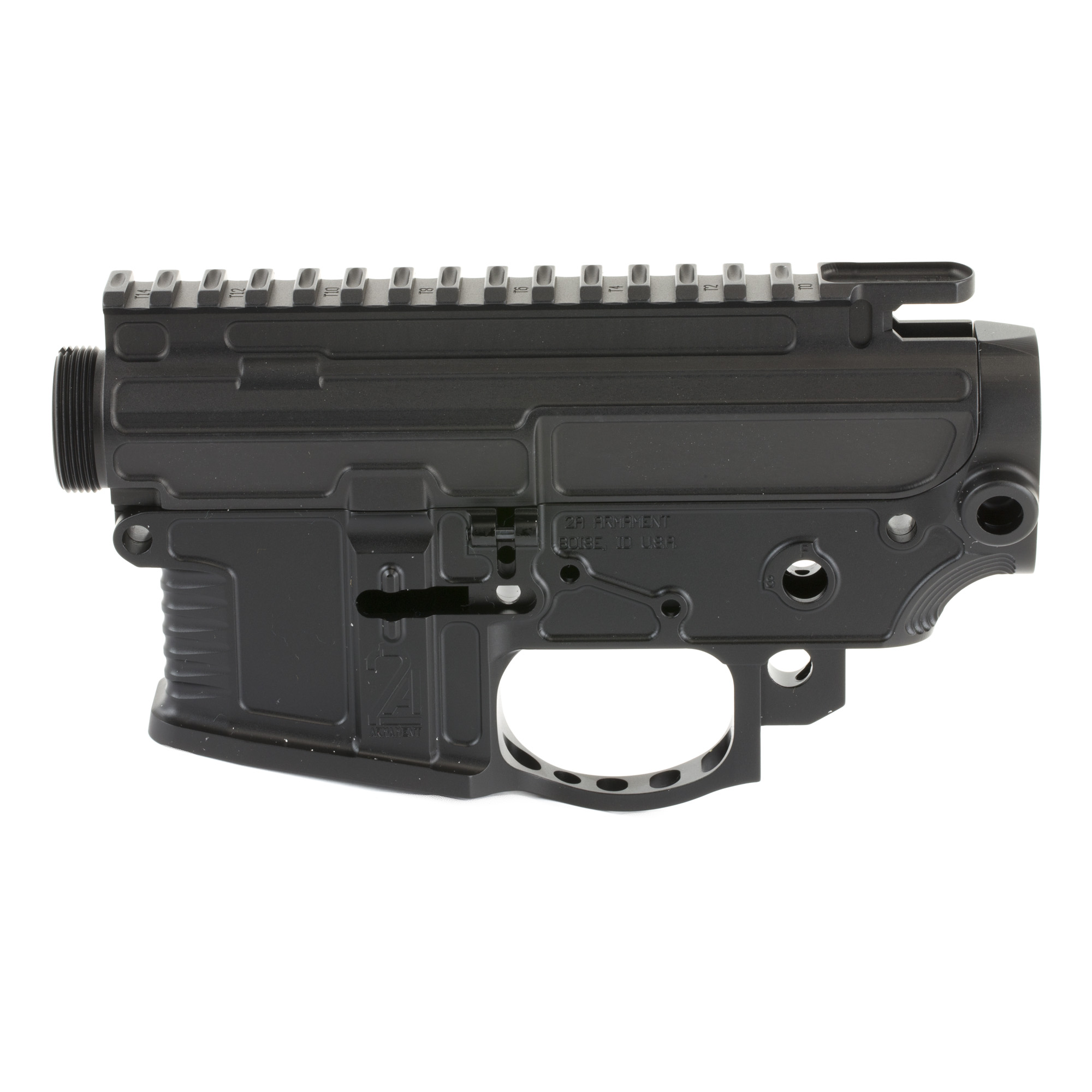 "2A-Armament is proud to introduce the Aethon billet upper and lower receiver set. The Aethon set incorporates a refreshed design on the mag well"" a ergonomically designed ridged tactile grip"" and integrated QD's into the receiver."