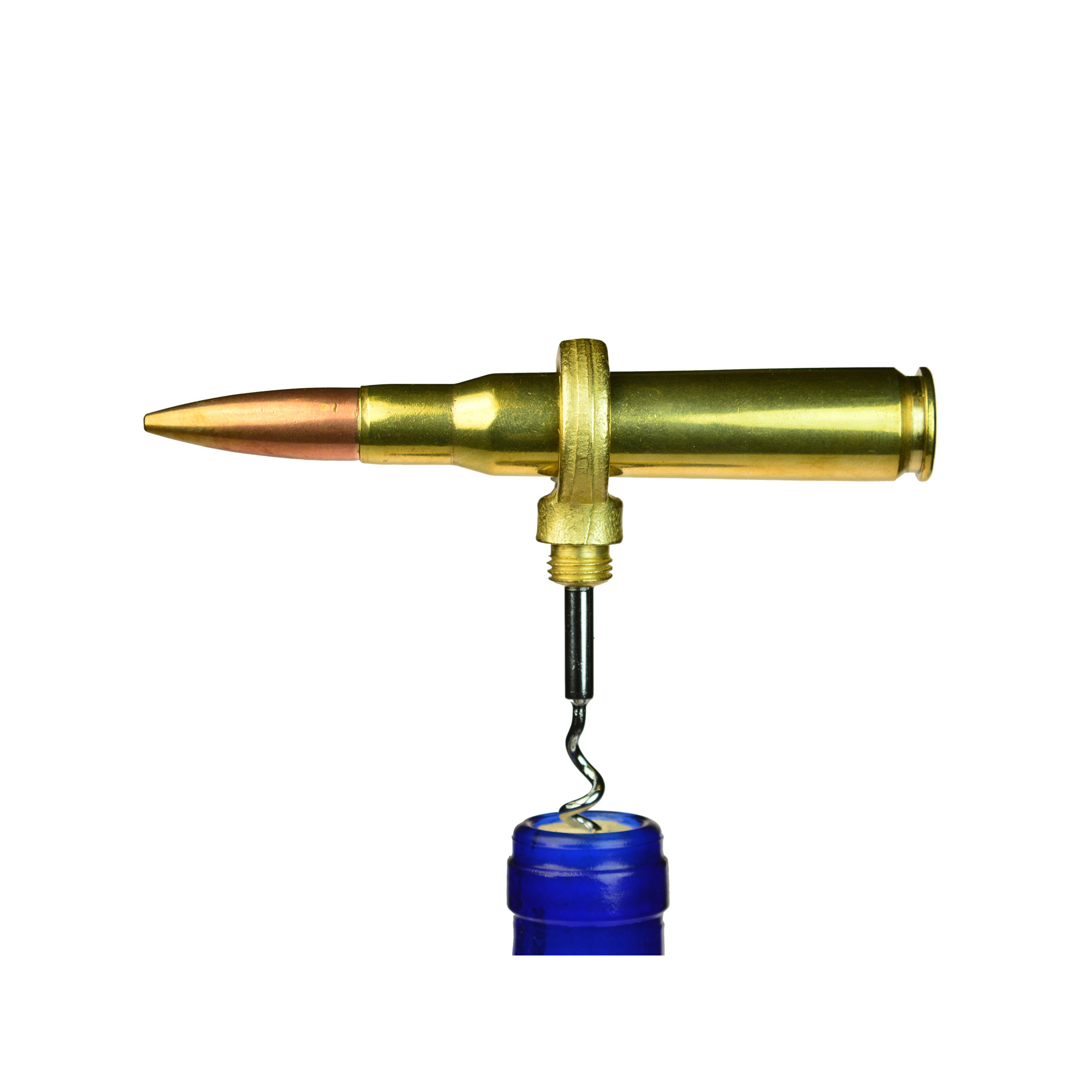 "With the Bullet Corkscrew"" you can bring a classic genuine brass 50 caliber casing to your favorite bottle of chardonnay. The end of the bullet unscrews to reveal the corkscrew. Simply slide the bullet through the hole and you have the perfect amount of leverage to open any bottle."