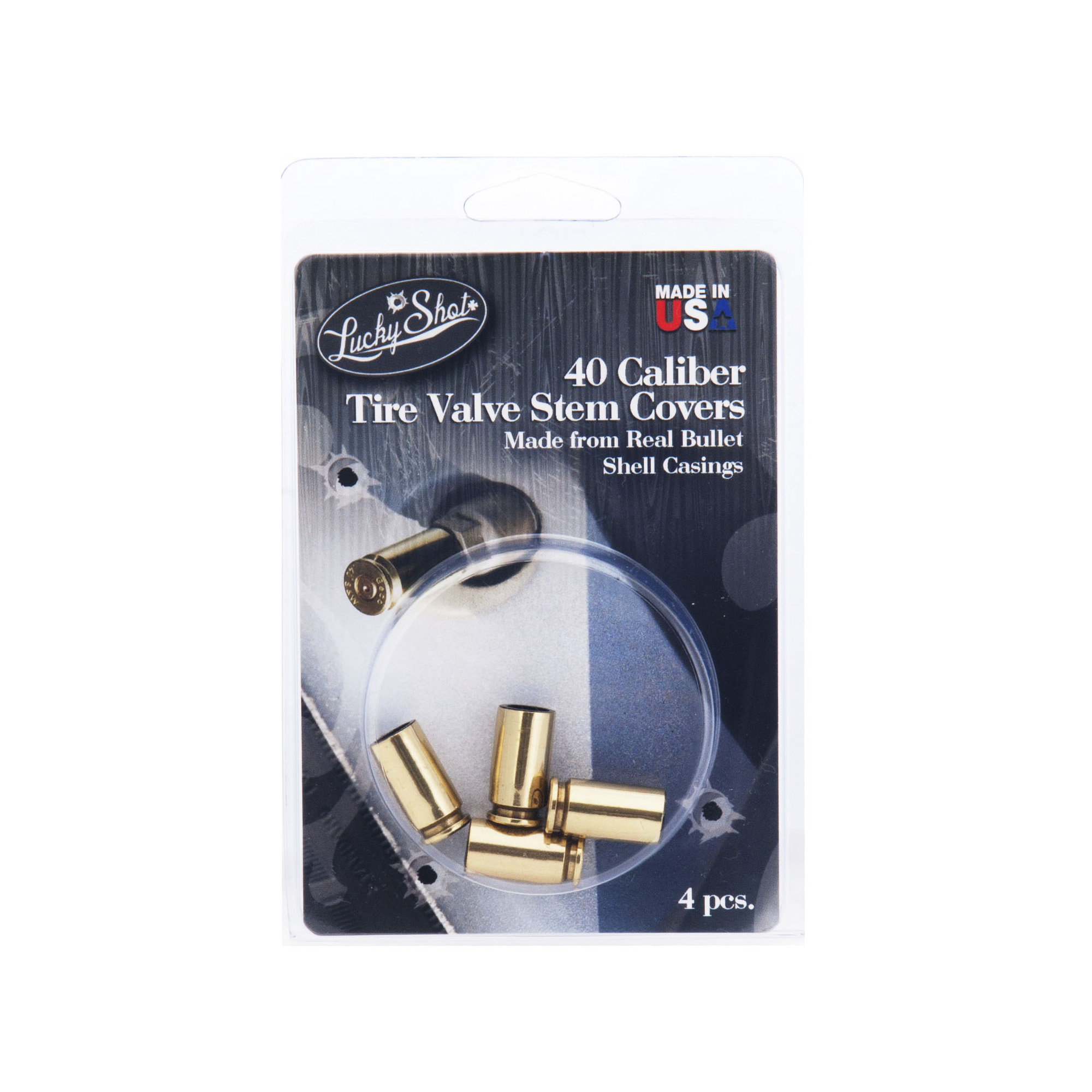 "Made from genuine once-fired"" American made 40 caliber shell casings. Set includes 4 valve stem caps."
