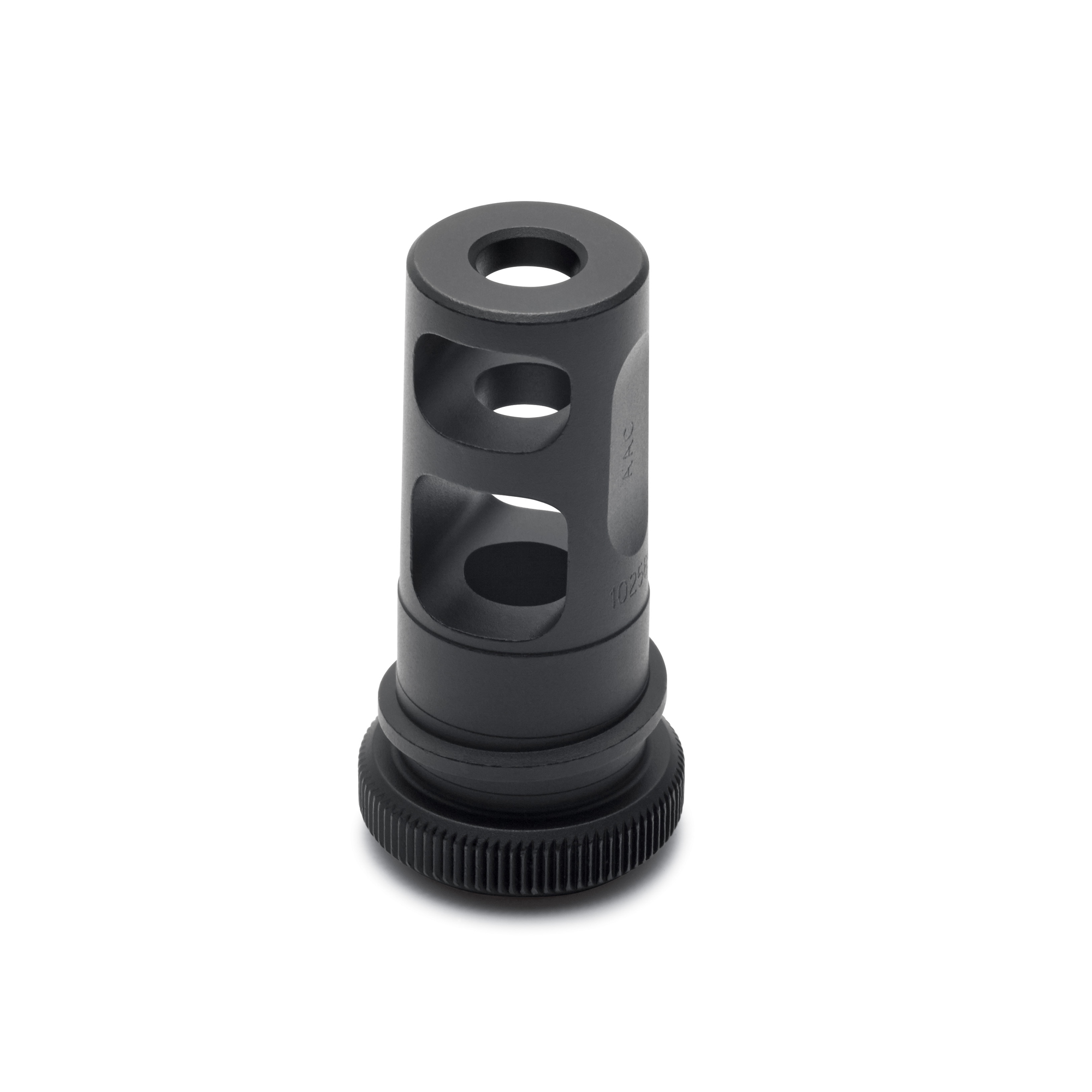 Highly-efficient muzzle brake design and compatible with AAC sound suppressors. Constructed with aerospace-grade heat-treated 17-4 stainless steel and Nitride coated for high surface hardness and durability.