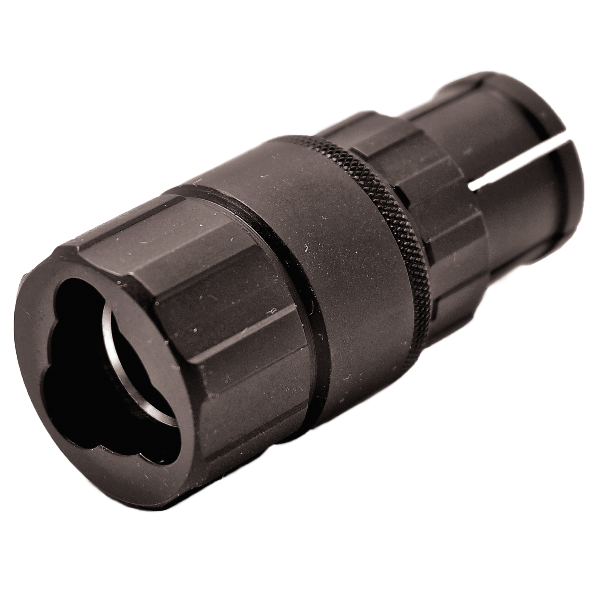 The Ti-RANT TRIAD(R) is an adapter that adds an additional element of versatility to Ti-RANT(R) series silencers by enabling users to quickly and easily install a Ti-RANT(R) onto the lugged barrel of an H&K MP-5 sub-machine gun or any fixed-barrel 9mm caliber host equipped with a lugged barrel or lugged adapter manufactured to duplicate the dimensions of the lugged H&K barrel. The Ti-RANT TRIAD(R) replaces the A.S.A.P. System in the rear of the Ti-RANT(R) series silencer and can be installed or removed in seconds. The Ti-RANT TRIAD(R) is constructed of heat treated 17-4 stainless steel and features a durable and corrosion resistant matte black nitride finish. Users can easily disassemble the Ti-RANT TRIAD(R) with no tools to perform cleaning and/or maintenance.
