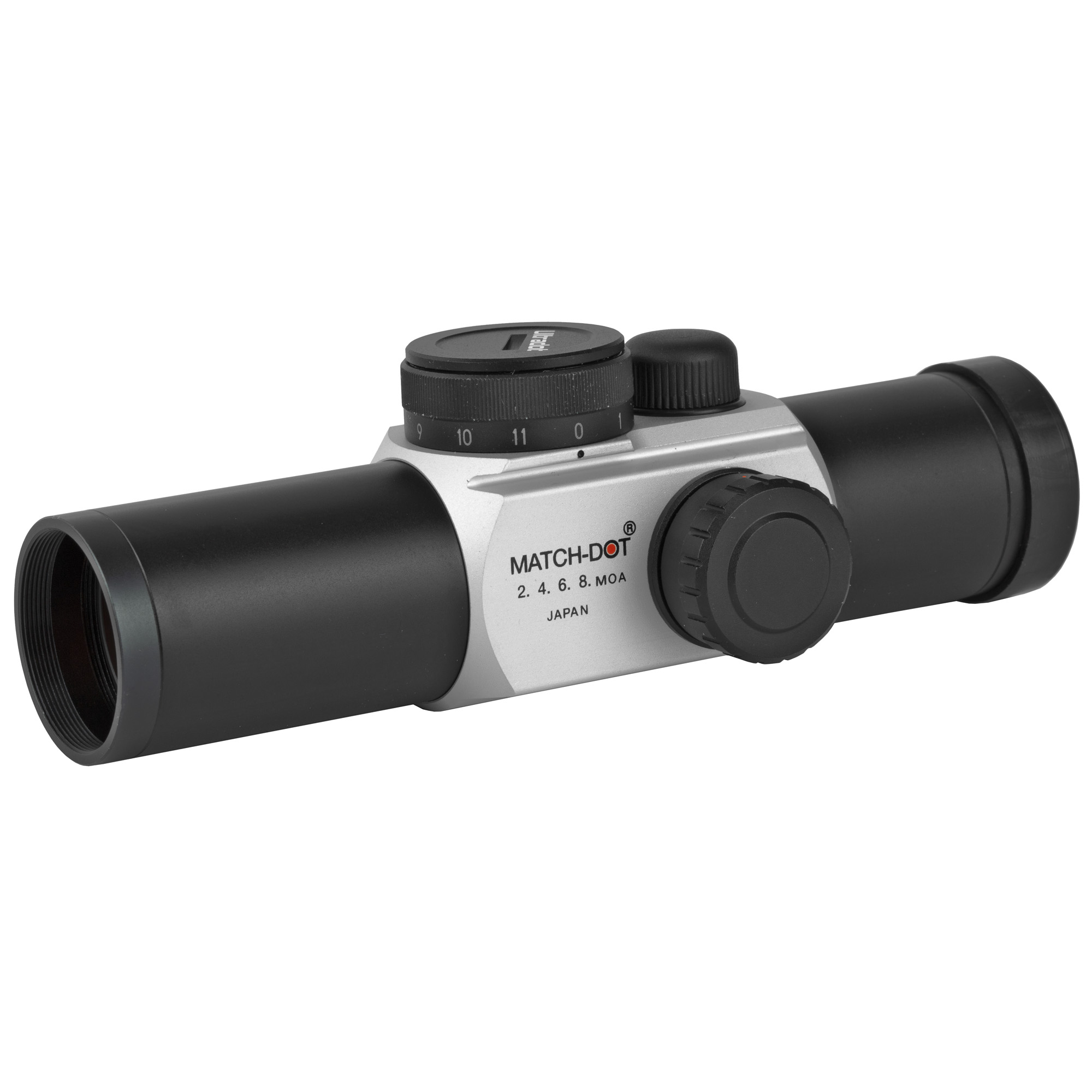"""The Original Matchdot is only 5.1 inches and weighs just 4.8 oz. Designed for competition shooters by Camp Perry Champions. Features four dot sizes - 2""""4""""6 and 8 MOA and a 30mm diameter tube. Click adjustable brightness control."""
