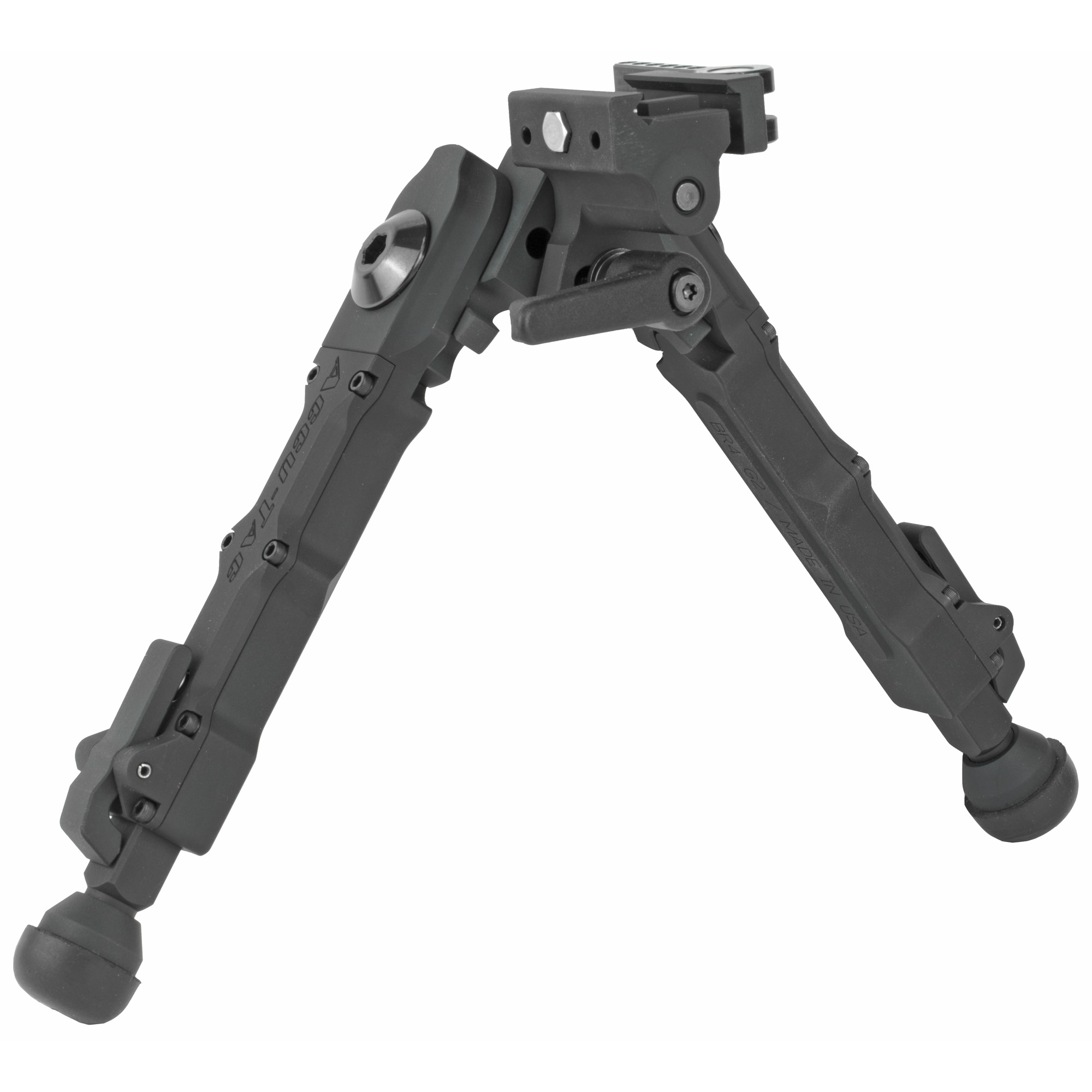 """The Accu-Tac BR-4 G2 Bolt Action Bipod with the quick detach was designed"""" engineered"""" and manufactured in the USA. This smaller bipod is convenient for a more grounded shot. The BR-4 is 100% billet"""" made from the highest quality aircraft aluminum available. Their quick detach rail mount is simple"""" quick"""" and very secure. The quick detach attaches to a 1913 Picatinny rail and mounts in seconds without the need to use extra tools for tightening. Their leg design allows the shooter to quickly adjust to 5 different positions with the advantage of being able to position each leg differently. The updated G2 model now offers leg extensions with a total of 5 notches for additional height. The BR-4 G2 has the ability to cant which can be locked with its new throw lever. To engage or adjust leg position"""" simply pull the leg downward to move each leg independently. Leg positions can be deployed in a 45 or 90 degree position either forwards or backwards"""" locking securely into 5 positions through a 180 degree arch."""