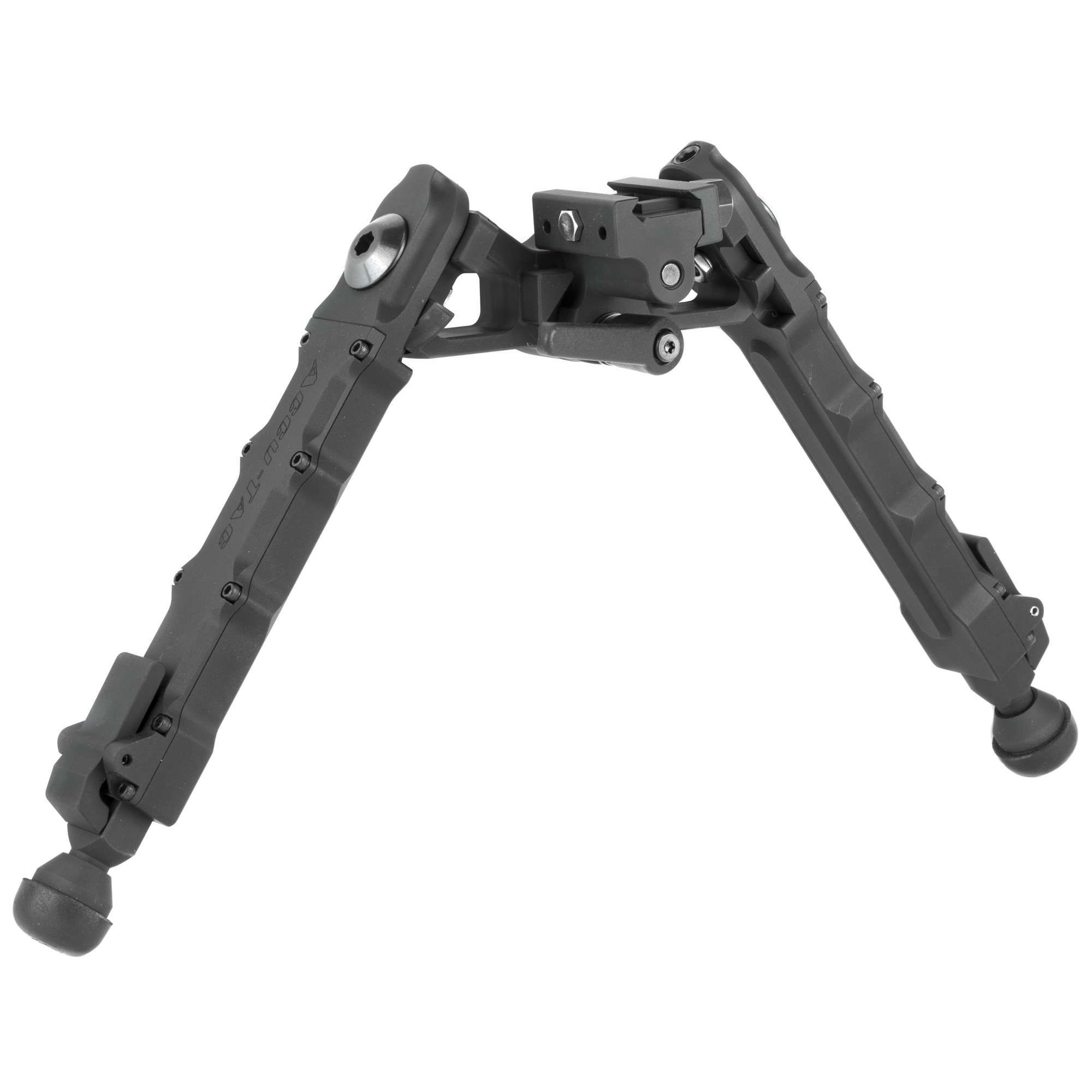 The HD-50 was designed for the 50 BMG caliber platforms. This is their Heavy Duty and most robust bipod. The arm lock lugs are larger to withstand the heavy recoil of a 50 BMG. This bipod has the ability to cant and has a very sturdy throw lever. The lever allows you to adjust the tension and enhance the ability to lock the canting motion into place. The legs can be extended into nine different height options. Its wider center hub delivers more stability and strength to support larger heavy rifles.