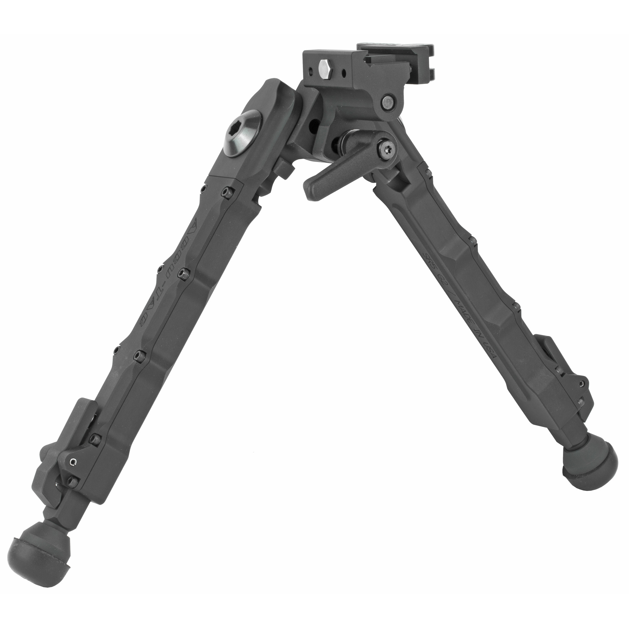 """The Accu-Tac SR-5 Quick Detach Bipod was designed"""" engineered"""" and manufactured in the USA. The SR-5 is 100% billet"""" made from the highest quality aircraft aluminum available. Its wide stance and ratcheted leg extension gives you the adjustability needed for precision aim and repeatability. You will feel the stability and security of your rifle as never felt before. The SR-5 G2 has the ability to cant which can be locked with its new throw lever. Their quick detach rail mount is simple"""" quick"""" and very secure; it attaches to a 1913 Picatinny rail and mounts in seconds without the need to use extra tools for tightening. Their ratcheted leg extension design allows the shooter to quickly adjust to 5 different heights without having to align each leg equally. The spring loaded leg extension retracts quickly with a one-button retraction lever. The retracted leg height of 6 inches extends to a full open position of 10 inches with 3 other positions in-between. To engage or adjust leg position"""" simply pull the spring loaded leg downward to move each leg independently. Leg position can be deployed in a 90 degree"""" 45 degree position either forwards or backwards"""" locking securely into 5 positions through a 180 degree arc."""