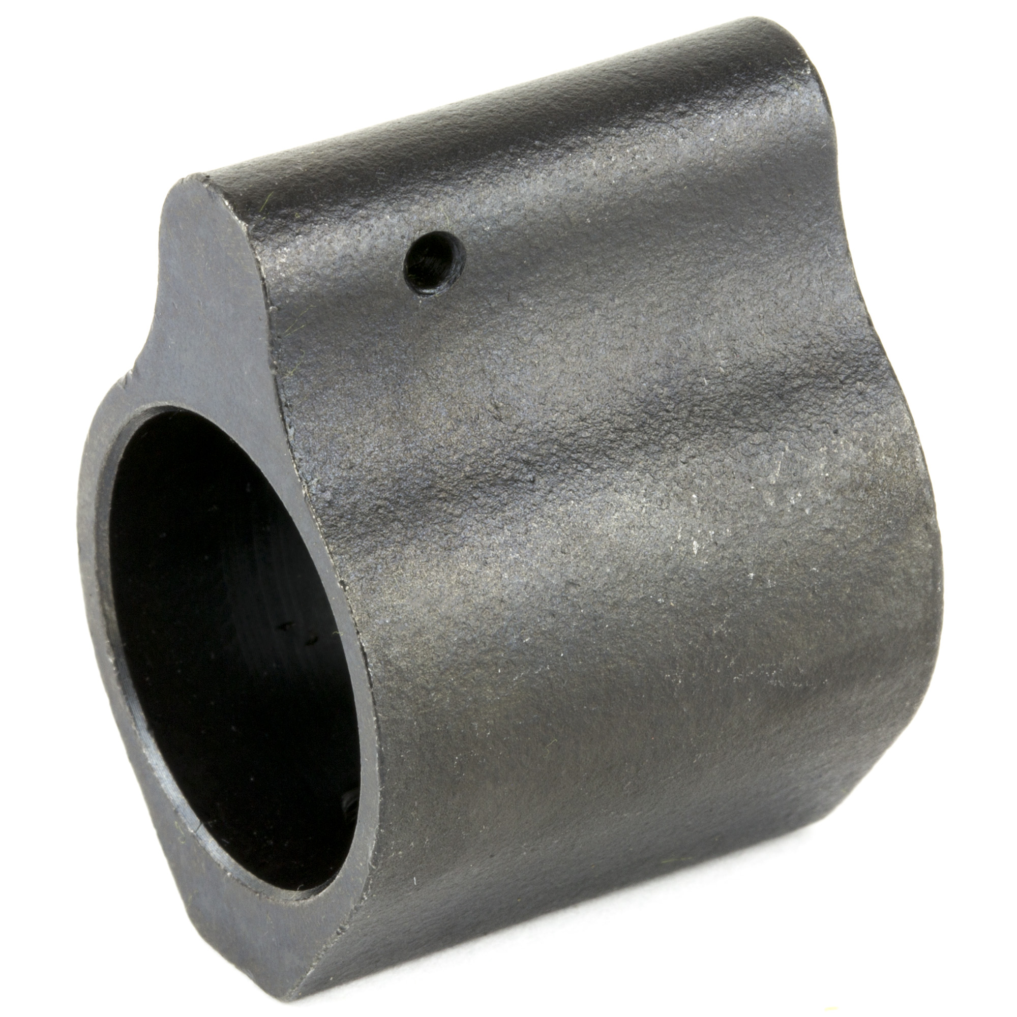 This low profile gas block was designed to allow an extended handguard to cover the gas return area of the barrel. It is machined from steel and Black Nitride finished.