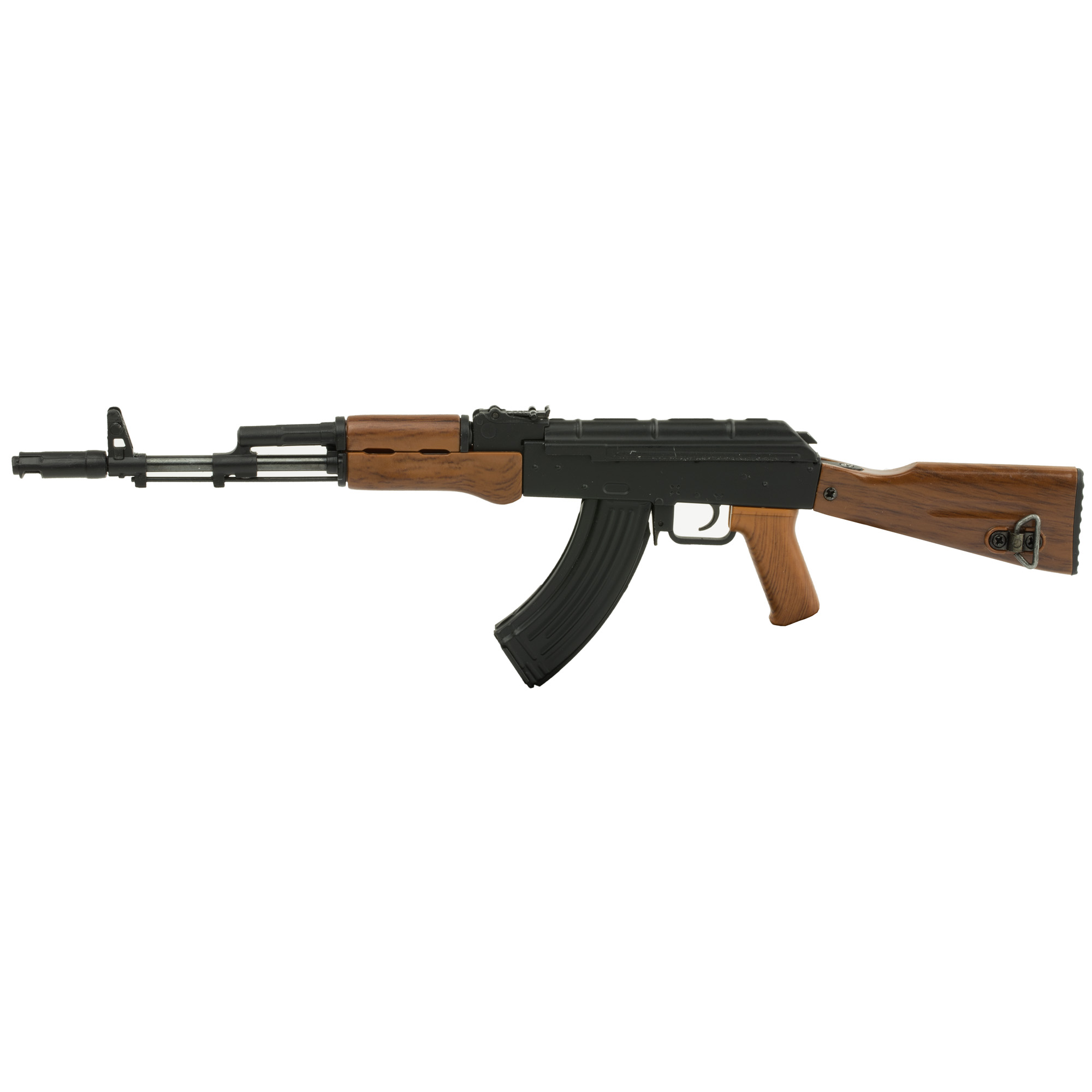 """Advanced Technology AK-47 Non-Firing Mini Replica"""" 1/3 Scale"""" Functioning Features Include: Charge Handle"""" Removable Dust Cover"""" Trigger"""" Firing Modes"""" Fixed Stock"""" Adjustable Sights"""" Removable Mag with Three Brass Rounds"""" Removable Cleaning Rod and Mag Release Button."""