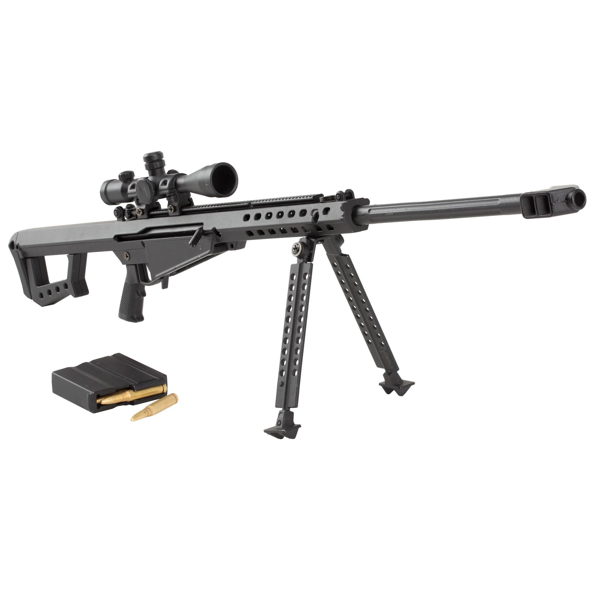 """Advanced Technology .50 Caliber Non-Firing Mini Replica"""" 1/3 Scale"""" Includes: Charging Handle (Pulls Back)"""" Flip-Up Iron Sights"""" Optional Scope"""" Spring Loaded Trigger"""" Removable Magazine and Bipod."""