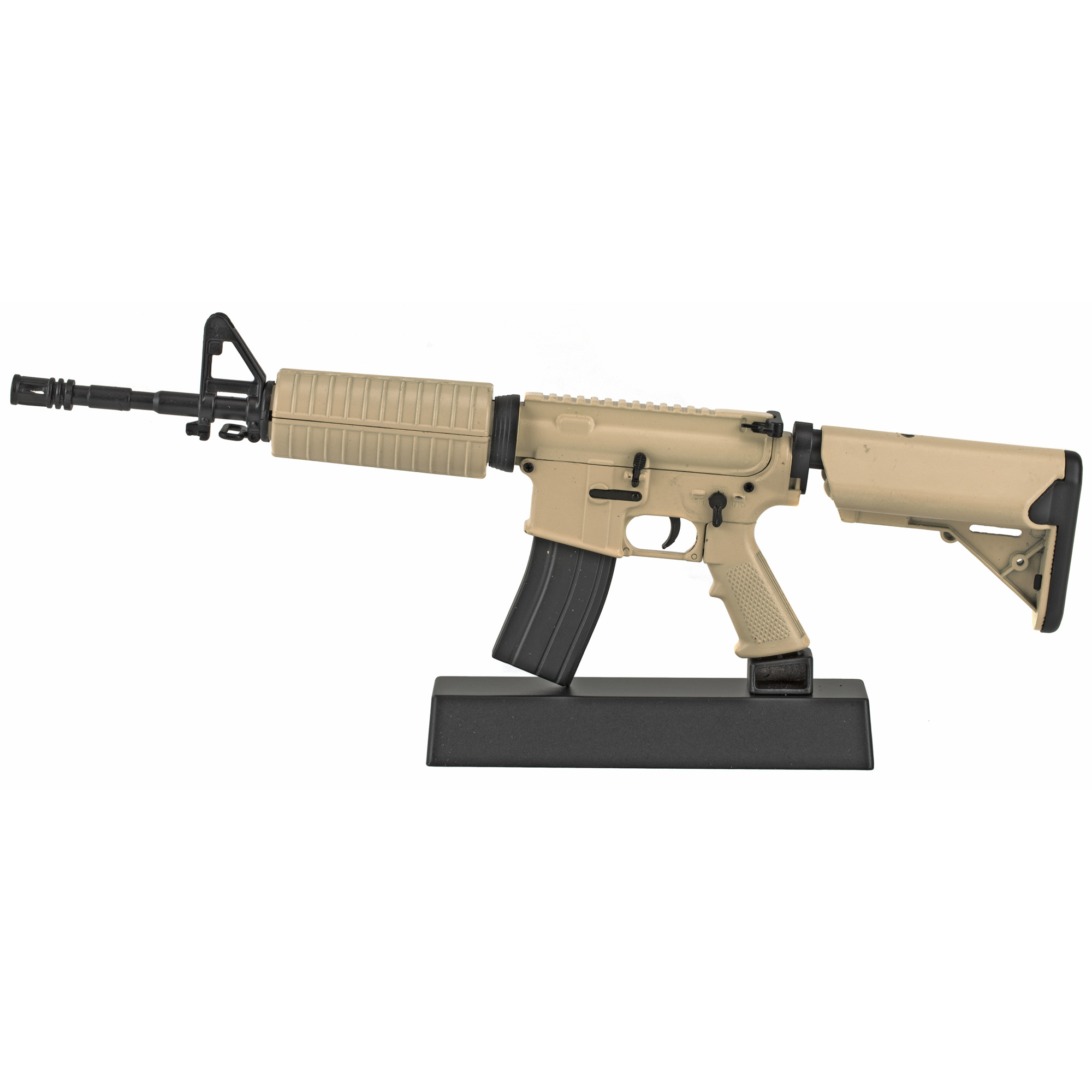 """Advanced Technology"""" AR-15 Non-Firing Mini Replica"""" 1/3 Scale"""" Includes: Charging Handle"""" Dust Cover"""" Trigger"""" Firing Modes"""" Adjustable Stock"""" Carry Handle"""" Removable Magazine with Three Brass Rounds and Magazine Release Button."""
