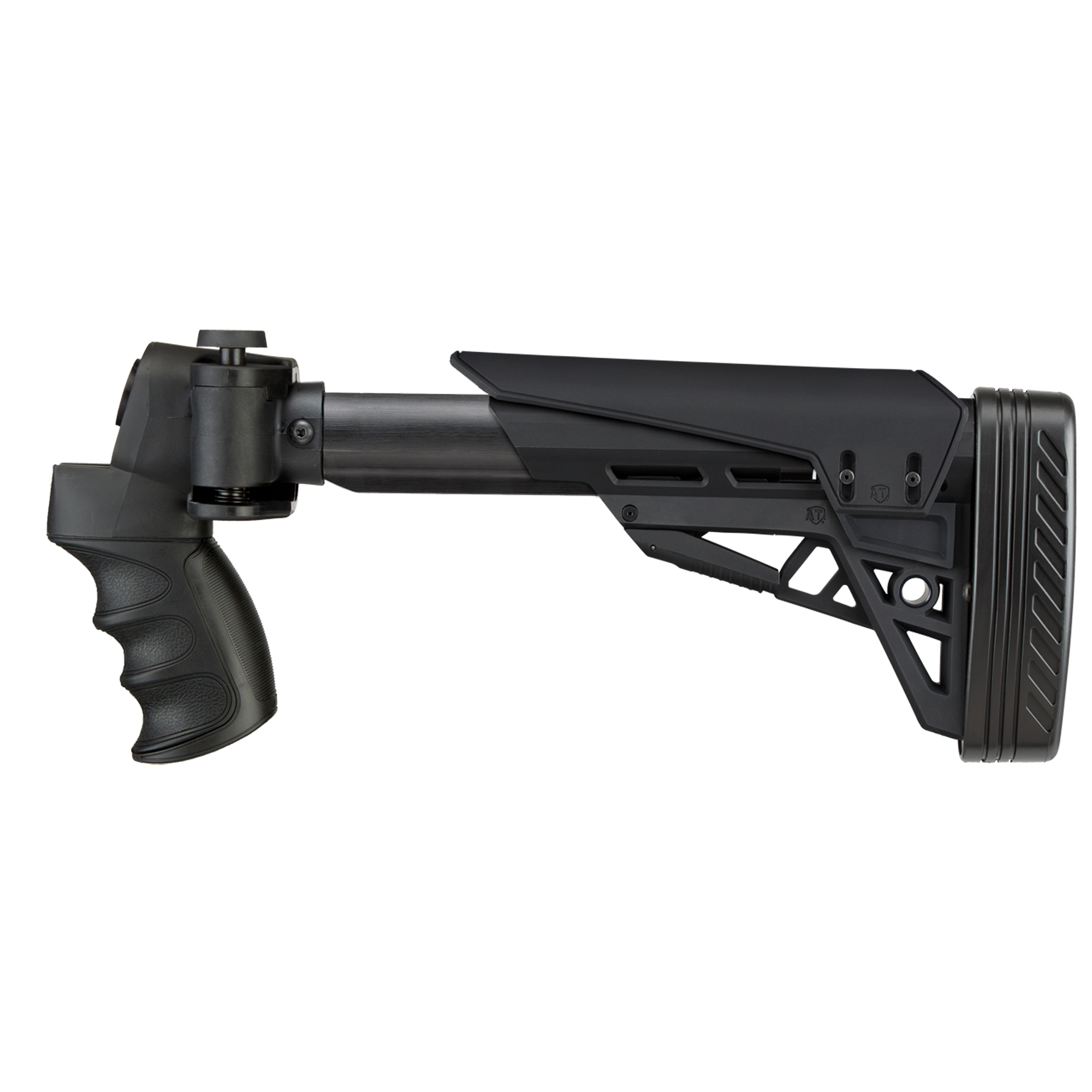 """The Advanced Technology Int. Strike force Side-Folding Shotgun Stock fits Maverick 88 12ga & 20ga (proud fit)"""" Mossberg 500/535/590/835 12ga & 20ga (proud fit)"""" Remington 870 12ga & 20ga (proud fit)"""" American Tactical MB3"""" and Winchester 1200/1300 Pump-Shotguns 12ga & 20ga (proud fit). It is a Six-Position Adjustable Side-Folding TactLite Shotgun Stock w/X2 Recoil Reducing Grip & Butt-Pad. The removable/adjustable cheek rest system has an elongated design to fit all users. It also includes a short cheek rest with 1/2"""" of adjustment. Adapters for all supporting models are included along with all mounting hardware for easy installation. It is constructed with DuPont(R) Extreme Reinforced Polymer and is scratchproof and weatherproof. Made in USA."""
