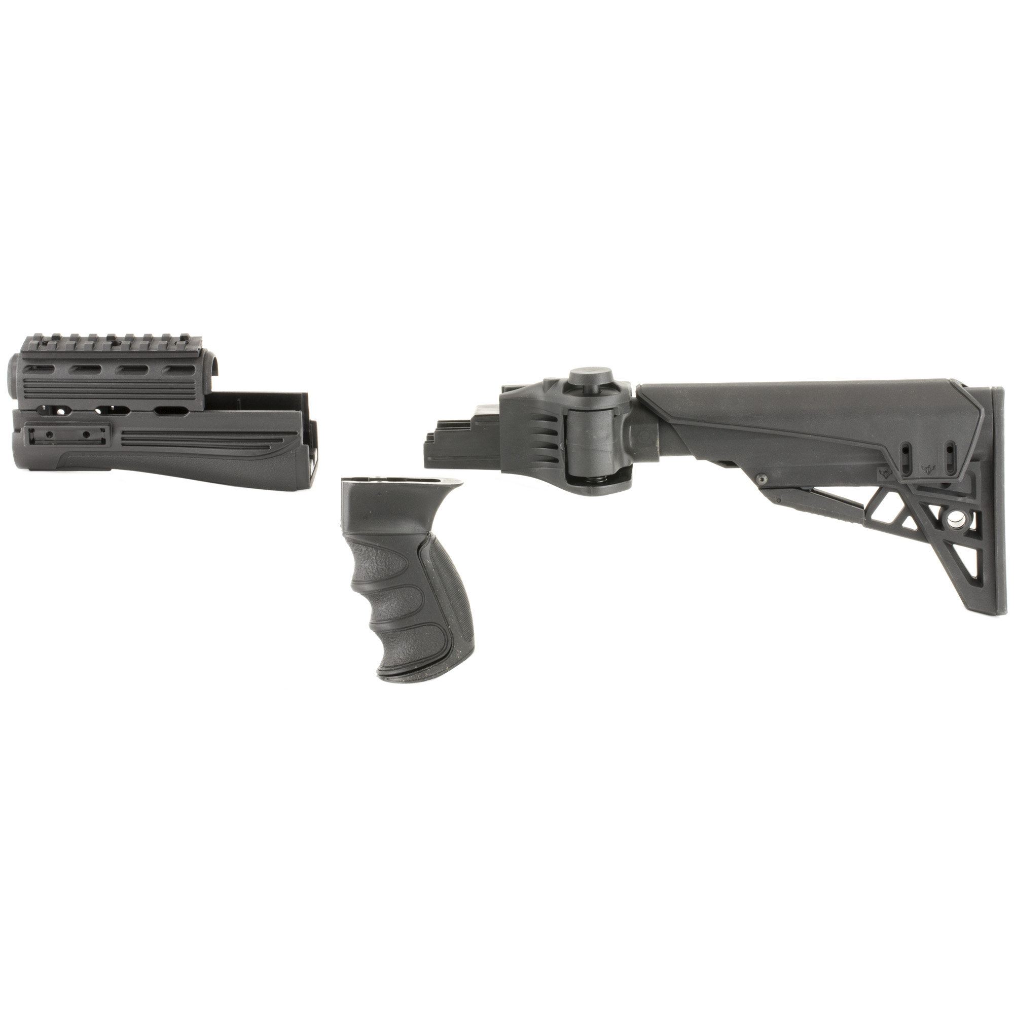 """The Advanced Technology Int. Strike force AK-47 Package fits most stamped receivers but will not fit milled receivers. It is an Adjustable Side-Folding Strike force Stock with Scorpion recoil system"""" ventilated handguards"""" pistol grip and adjustable cheek rest. It is a 6-position adjustable side-folding stock and can be fired from a folded position. The TracLock System eliminates horizontal and vertical movement of the stock on the buffer tube. The Scorpion Razorback Recoil pad is non-slip and removable and the Scorpion Recoil Pistol Grip is ergonomic with a Sure-Grip texture. There is a removable/adjustable tactical cheek rest that is elongated and designed to fit all users. The included short cheek rest has 1/2"""" of adjustment. There are four Picatinny Rail locations: One 4"""" Picatinny Rail"""" Two 2"""" Picatinny Rails and One 2"""" Picatinny Rail with swivel stud and blank inserts for when rails are not in use. Manufactured in the USA."""