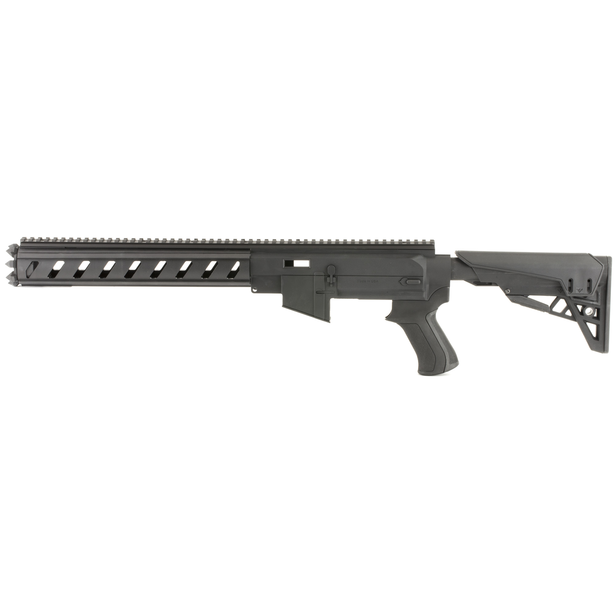 """The Advanced Technology Int. AR-22 Ruger 10/22 Kit is an AR Conversion Kit with a TactLite Stock and a six-sided Forend. It fits Ruger 10/22 with a standard barrel or bull barrel. It is an AR-15 Replicate Polymer Receiver Chassis with all intricate features of the AR-15 and accepts any 10-25 round magazines. It is a six-sided Military Grade Synthetic forend with a 21"""" aluminum Picatinny Top Rail for optics and accessories. The TracLock System eliminates horizontal and vertical movement of the stock on the buffer tube. X Series Thin Recoil pad is non-slip and removable"""" X2 Style Pistol Grip has a Sure-Grip texture and its ergonomic design fits all hands. Made in the USA."""