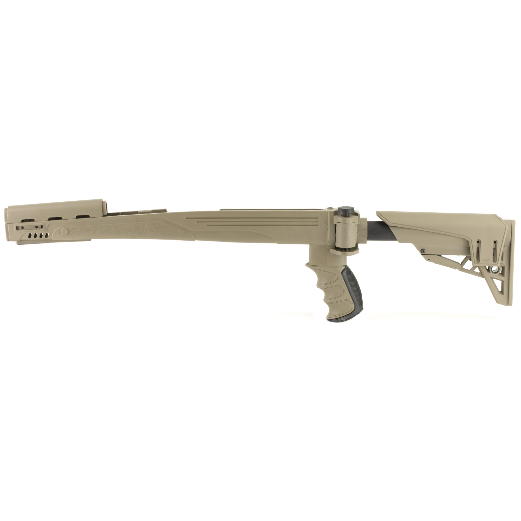 """The Advanced Technology Int. Strike force SKS Stock is a six-position adjustable side-folding TactLite stock that folds to the left of the receiver. It fits SKS Rifles. (Minor modification may be required in some cases. Blade bayonet must be removed.). The TracLock System eliminates horizontal and vertical movement of the stock on the buffer tube and provides smooth secure stock adjustments. It has a dual sided QD attachment point and a removable/adjustable cheek rest system that has an elongated design to fit all users. Includes a short cheek rest with 1/2"""" of adjustment. The X Series thin recoil pad is non-slip and removable and the X1 Style pistol grip has a Sure-Grip texture. There are four forward Picatinny Rail locations- One 4"""" Picatinny Rail"""" Two 2"""" Picatinny Rails and One 2"""" swivel stud Picatinny Rail."""