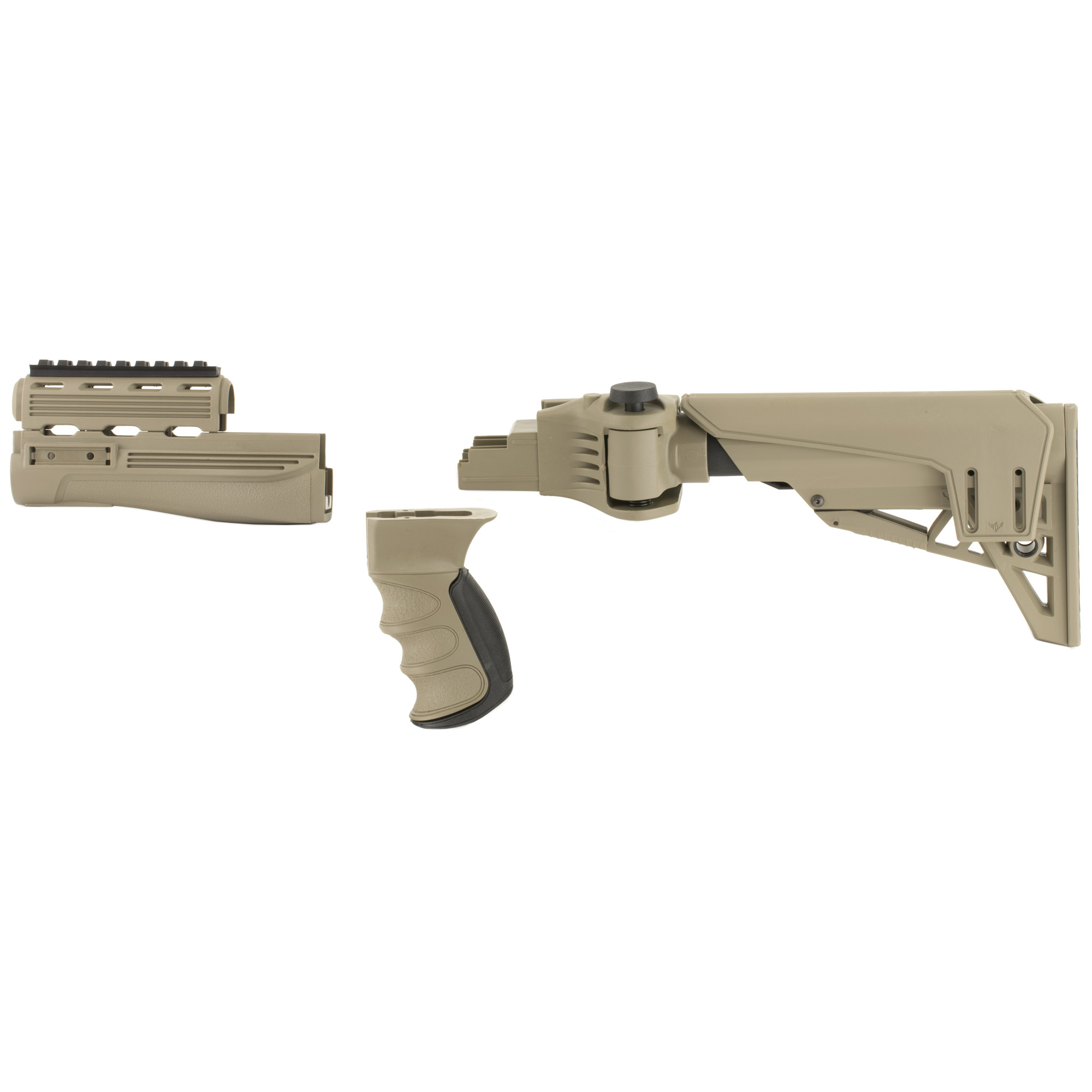 """The Advanced Technology Int. Strike force AK-47 Package is a six-position adjustable side-folding TactLite stock and forend package with a Scorpion Recoil System"""" ventilated handguards"""" pistol grip and adjustable cheek rest. It fits most stamped receivers but will not fit milled receivers. Will not fit the O-PAP/N-PAP M-70. (The M-70 has a stamped receiver"""" but utilizes a different principle of attaching the stock and the gas piston is longer than a standard AK.)ATI AK-47 stocks are not compatible with any AK-47 that has an under-folding stock or was originally designed to have an under-folding stock like the NMH-90"""" etc. The TracLock System eliminates horizontal and vertical movement of the stock on the buffer tube and provides smooth secure stock adjustments. It has a dual sided QD attachment point and a removable/adjustable cheek rest system that has an elongated design to fit all users. Includes a short cheek rest with 1/2"""" of adjustment. There are four forward Picatinny Rail locations- One 4"""" Picatinny Rail"""" Two 2"""" Picatinny Rails and One 2"""" Picatinny Rail with swivel stud. There is a slot for a tactical sling attachment"""" 3 sling swivel studs and includes a steel t-nut and bolt. Manufactured in the USA."""