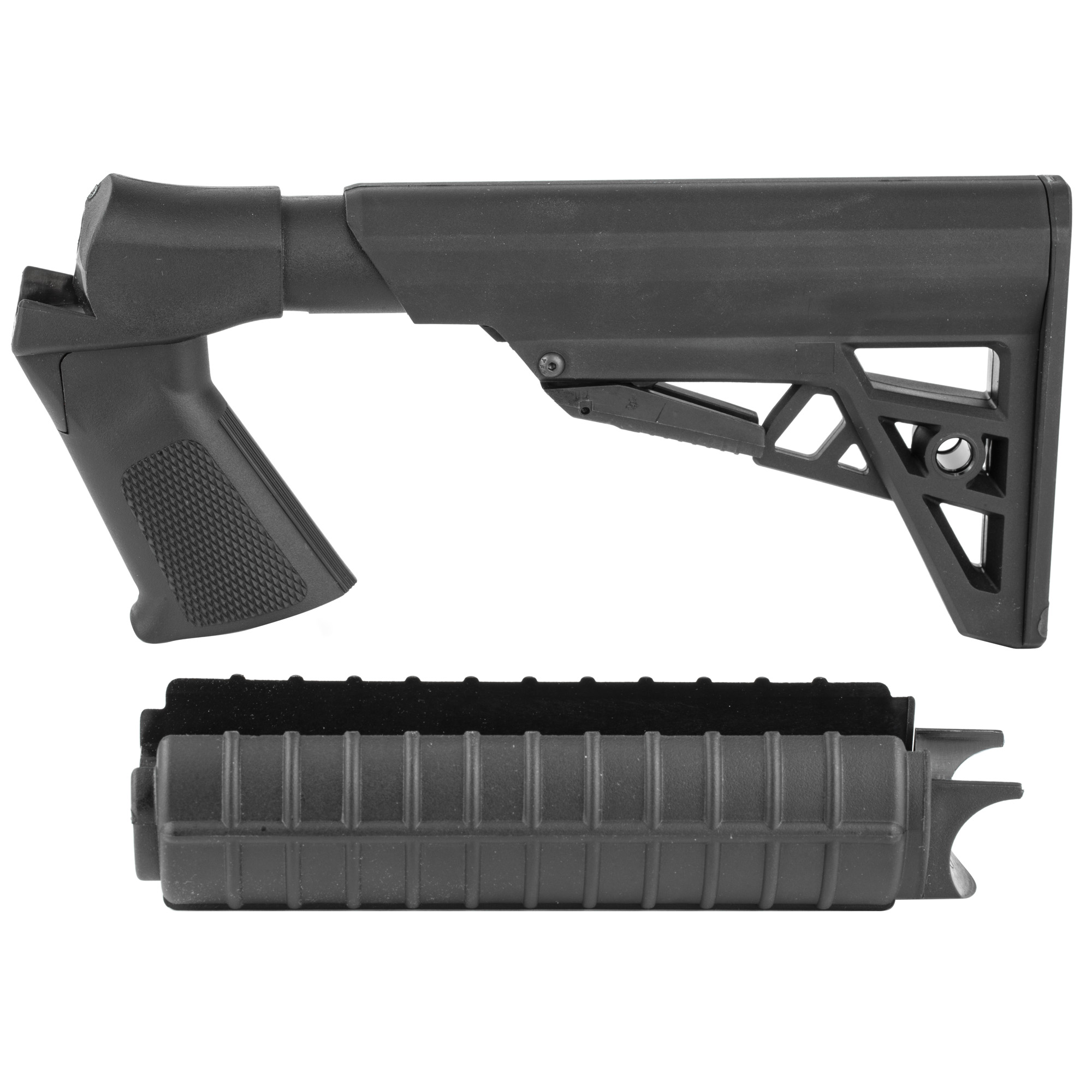 """The Advanced Technology Int. Shotforce Six-Position Adjustable Pistol Grip Stock & Forend Package fits most H&R/NEF 12"""" 16"""" & 20 Ga"""" 410"""" H&R and NEF single shot shotguns or rifles. Does not fit the H&R Pardner Pump or Youth Model Firearms. It is compact for transport and carry"""" has a textured grip for increased control and accuracy and its ribbed forend provides a stable forward grip for all shooters. The length of pull is 10 3/4"""" to 14 3/4"""". It is easy to install and all mounting hardware is included. Made in the USA."""
