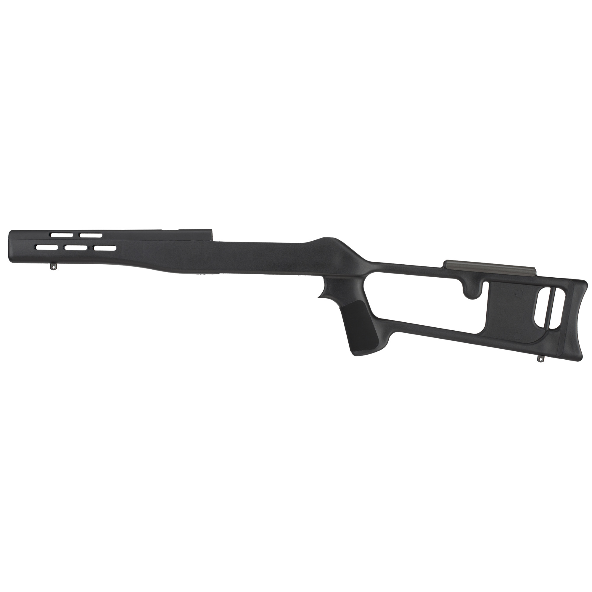 The Advanced Technology Int. Fiberforce Ruger 10/22 Thumbhole Rifle Stock fits most Ruger 10/22 but will not accommodate rifles equipped with bull barrels. Its Dragunov Military design is lightweight and has a ventilated forearm and handguard. The DuPont(R) Extreme Temperature Glass Reinforced Polymer makes this stock scratch resistant and weatherproof. The sling swivel studs will accept any standard sling swivel. Made in the USA.