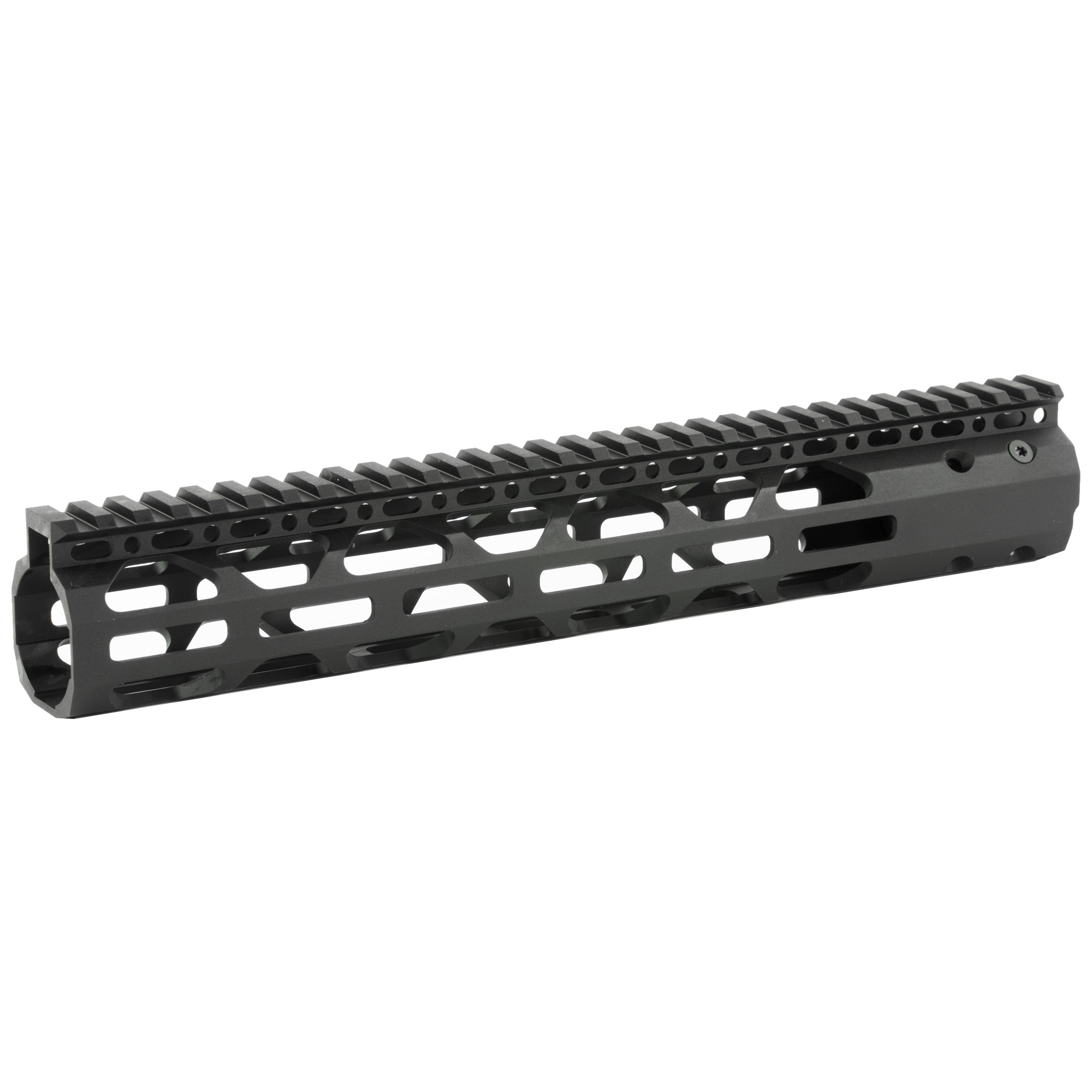 """The Advanced Technology Int. 12"""" Slim AR-15 Free-Float Forend Package fits AR-15 variants. Does Not fit AR-10 or .308 Variants. Made with military type III anodized"""" 6061 T6 aluminum and is ultra-light and virtually indestructible. It has a seamless intergraded top rail and M-LOK mounting locations on 3 sides for rails or compatible accessories. Made in the USA."""