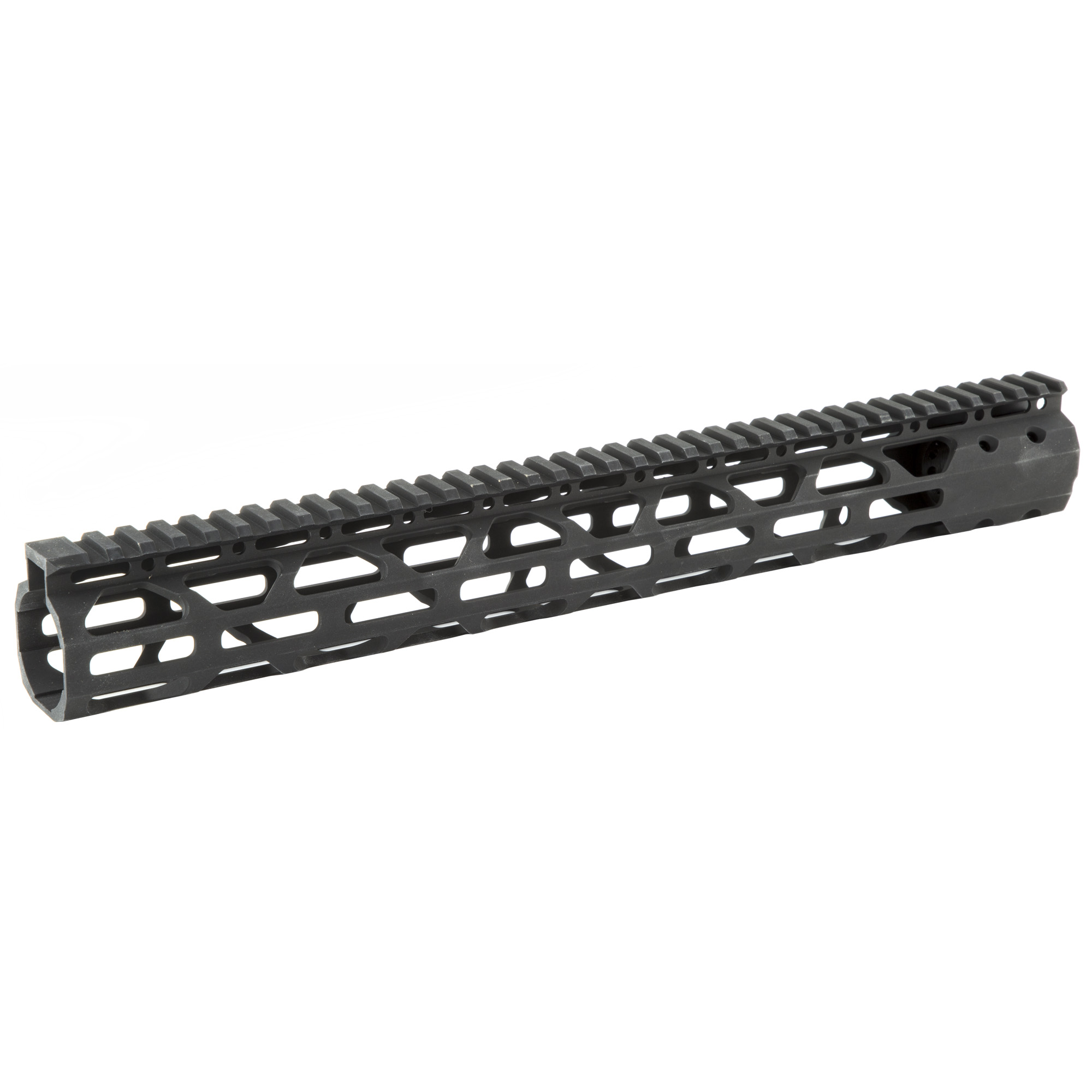 """The Advanced Technology Int. 15"""" Slim AR-15 Free-Float Forend Package fits AR-15 variants. Does Not fit AR-10 or .308 Variants. Made with military type III anodized"""" 6061 T6 aluminum and is ultra-light and virtually indestructible. It has a seamless intergraded top rail and M-LOK mounting locations on 3 sides for rails or compatible accessories. Made in the USA."""