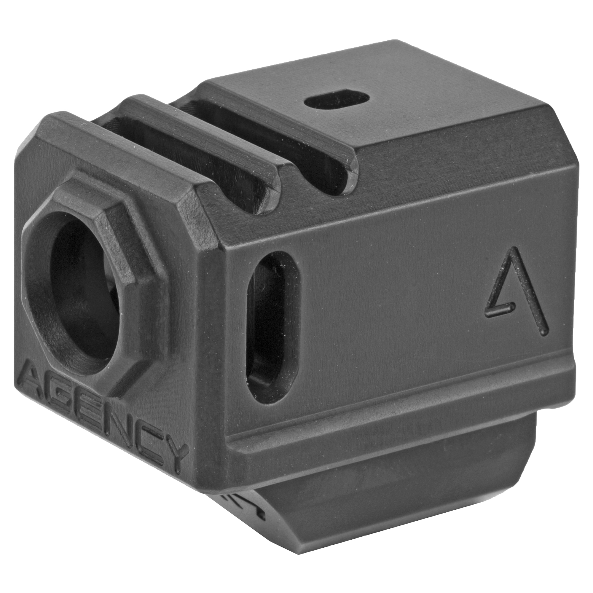 """The Agency Arms 417 Compensator is threaded with the standard 1/2x28 thread pitch. It features a 2 chamber design (2 vertical ports and 2 side venting ports. It is designed to utilize the OEM recoil spring assembly and it also features a front sight hole"""" allowing you to transfer your existing front sight from your slide to the comp. Compatible with the 17""""19 and 34."""