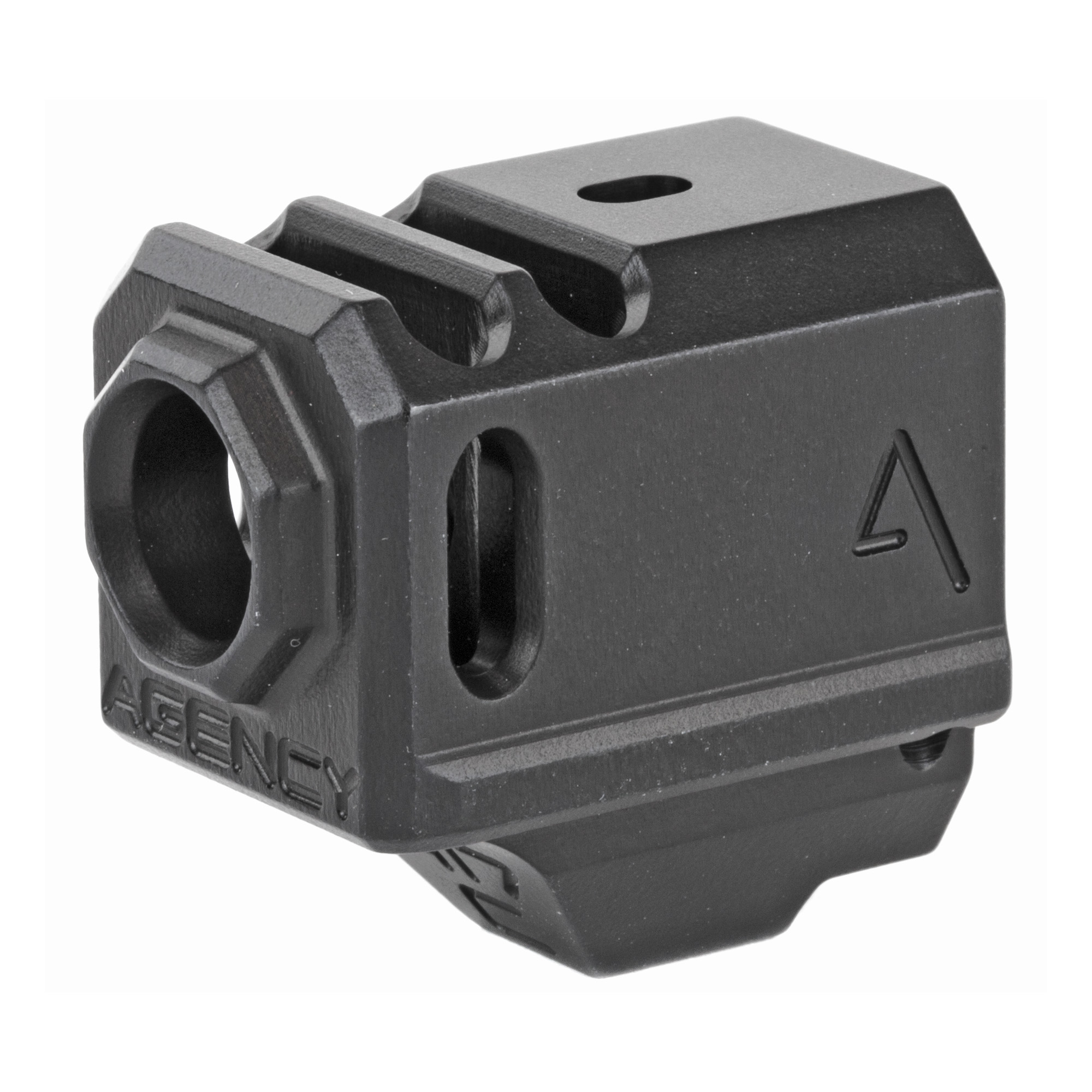 """The Agency Arms 417C Compensator is threaded with the standard 1/2x28 thread pitch. It features a 2 chamber design (2 vertical ports and 2 side venting ports. It is designed to utilize the OEM recoil spring assembly and it also features a front sight hole"""" allowing you to transfer your existing front sight from your slide to the comp. The 417C is specifically designed for the Glock(R) 43"""