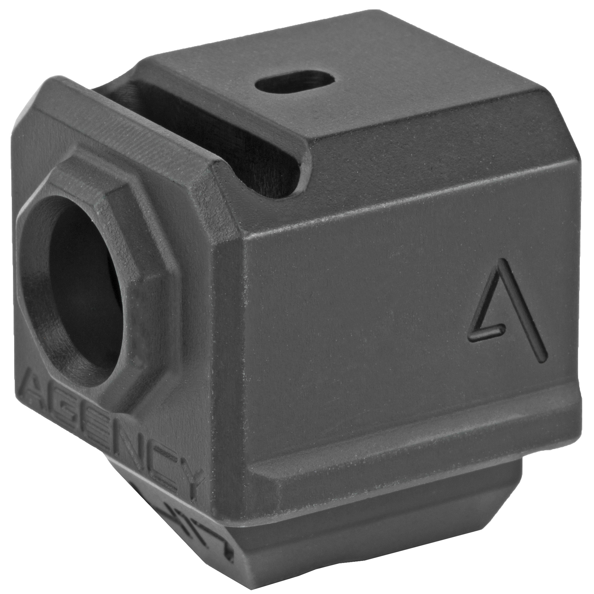 """The Agency Arms 417 Compensator is threaded with the standard 1/2x28 thread pitch. It features a single top venting port and it also features a front sight hole. It is designed to utilize the OEM recoil spring assembly and the front sight hole allows you to transfer your existing front sight from your slide to the comp. Compatible with the 17""""19 and 34."""