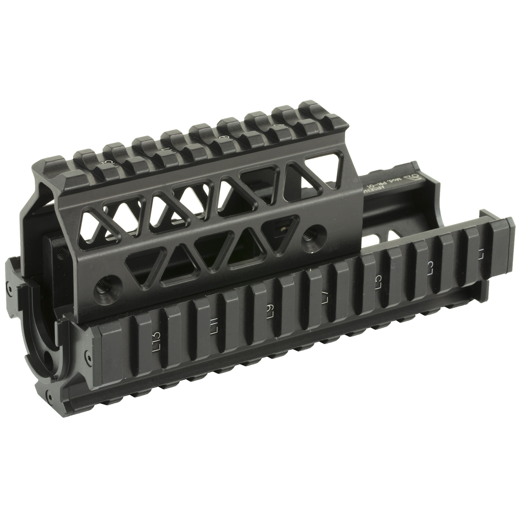"""Arsenal Inc.'s Precision Picatinny Quad Rail Handguard System provides a superior platform for wide range of attachments"""" including optics"""" flash lights"""" lasers"""" forward grips"""" and other accessory options. It was designed and manufactured to meet and exceed stringent military requirements such as the ability to accept cleaning rod with the rail system installed"""" to easily align the rail system with both milled and stamped receivers achieved and provides the maximum number of rails achieved with optimum design with 14 rails on the bottom and the sides"""" and 9 rails on the top."""
