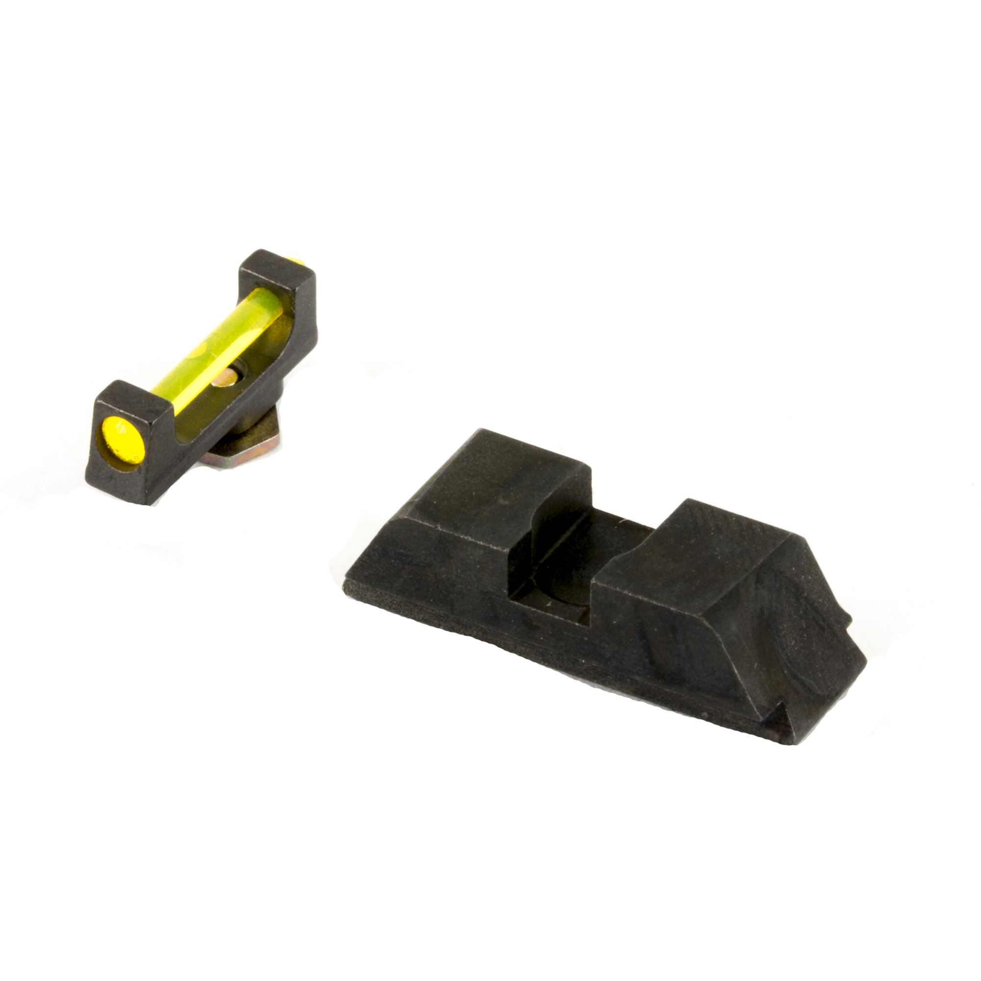 Sight set with fiber front and flat black steel rear for Glocks. Fiber optic elements concentrate ambient light and are ideal for bright environments.