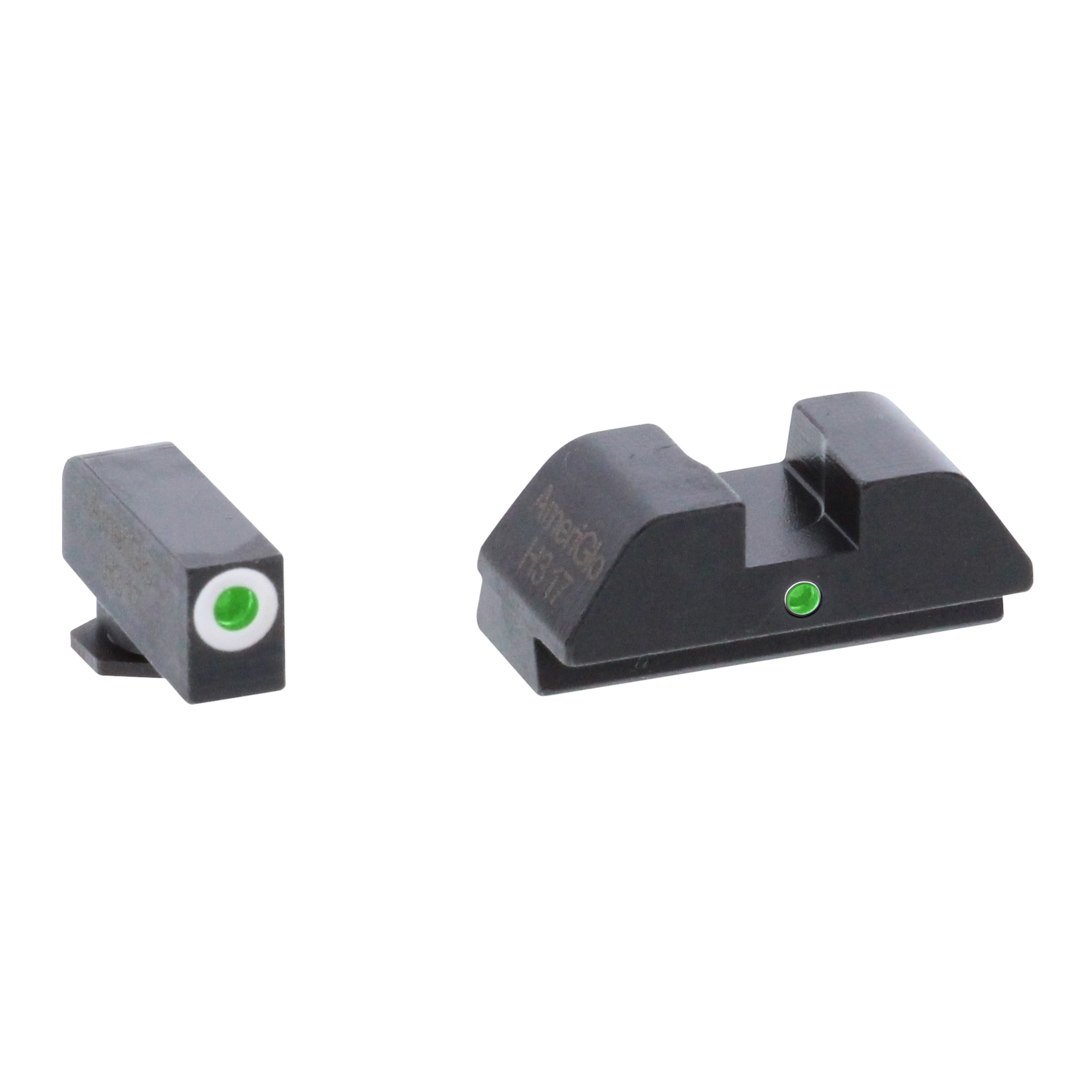 The AmeriGlo I-dot Night Sight Sets are ideal for the person who is looking to increase their speed on target in a defensive situation. The I-dot configuration utilizes a dot over dot method for quick vertical sight alignment and fast target acquisition. The I-dots also provide you with an extended rear sight for a bit extra sight radius and a glare reducing undercut rear face. This is a superb design for all shooters. The sights are housed in a steel frame which features a matte black finish. This set has a green tritium front sight with white front outline and a green tritium rear with square notch.
