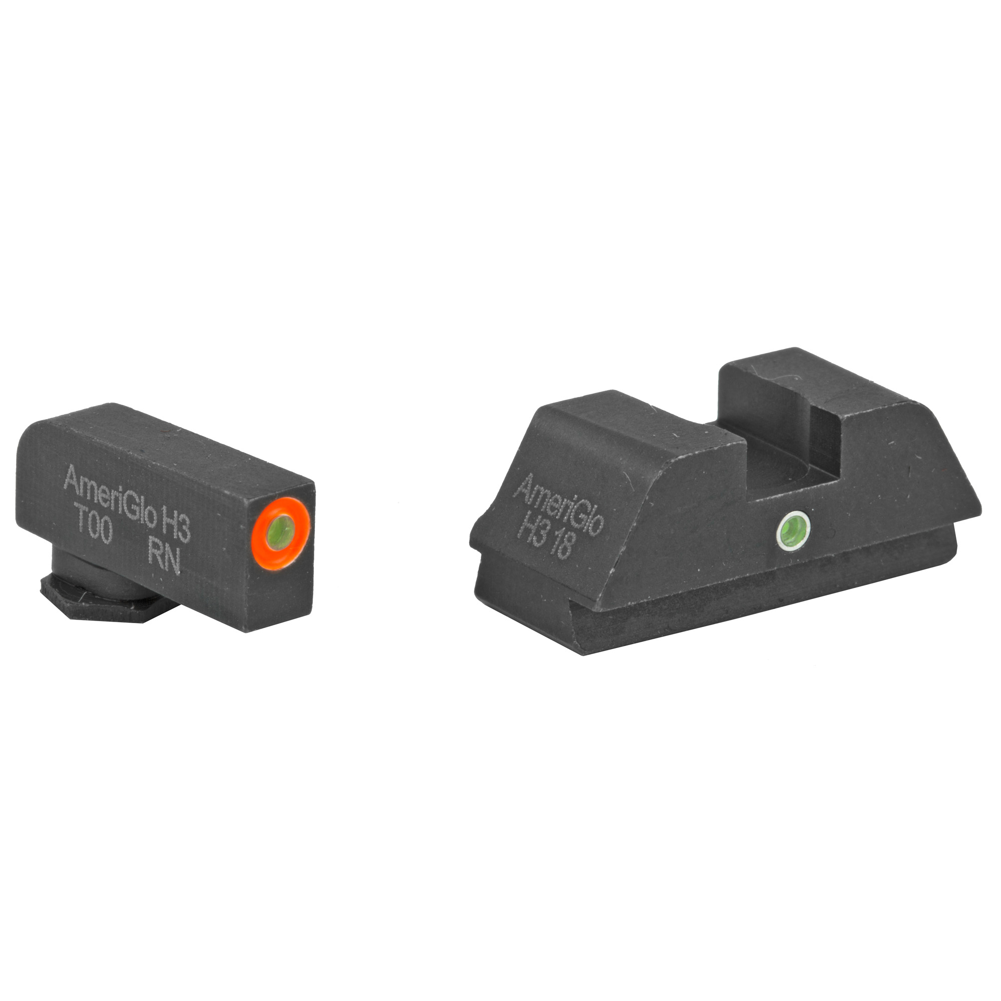 Sight set with green tritium lamp front and one green tritium lamp rear for Glocks. Designed for simple front sight acquisition while retaining rear illumination.