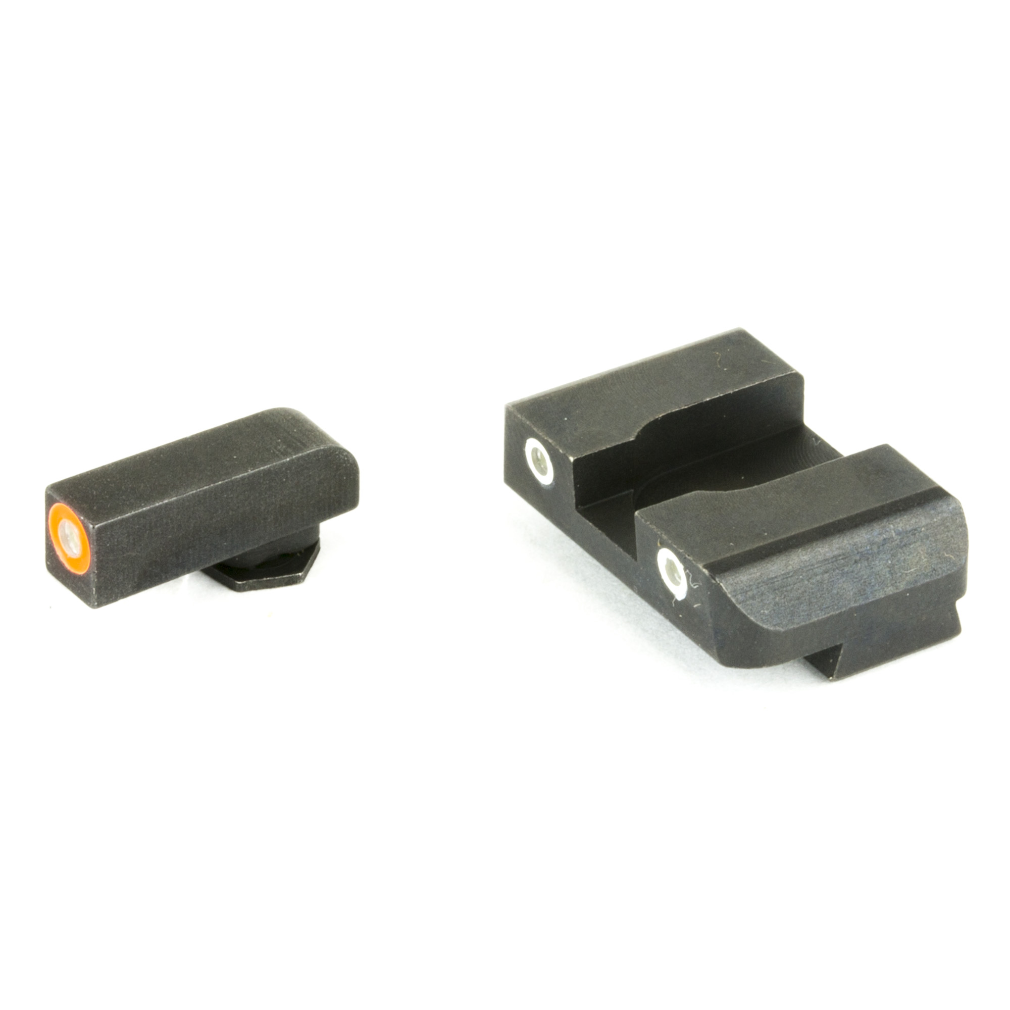 """Sight set with green tritium lamp"""" orange or luminescent green outline front and two green tritium lamp"""" white outline rear for Glocks. Highly visible under all lighting conditions. LumiGreen paint will glow brightly for 10 minutes after light exposure."""