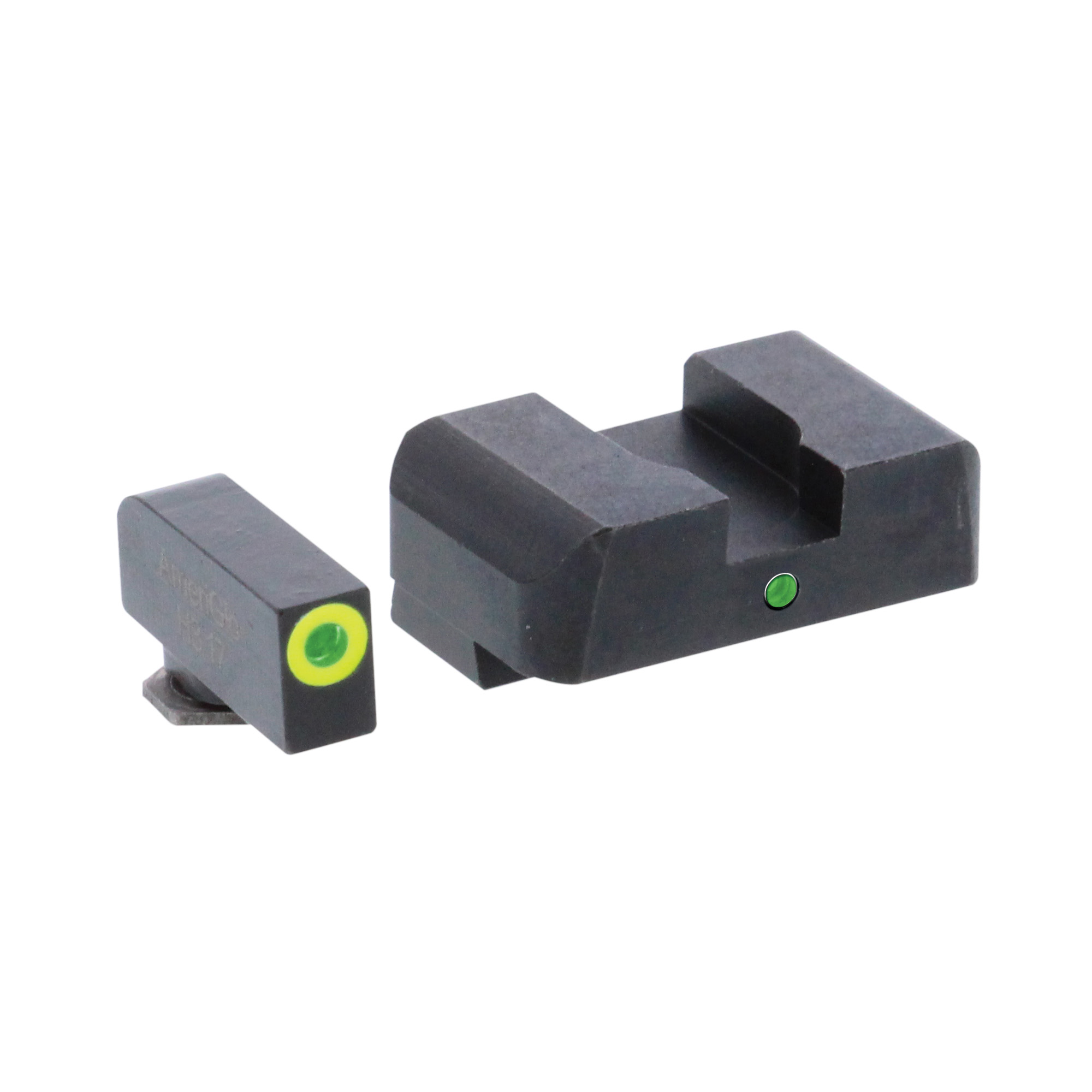 """Sight set with green tritium lamp front"""" one green tritium lamp rear (centered below notch) for Glocks. Designed for simple front sight acquisition while retaining rear illumination."""