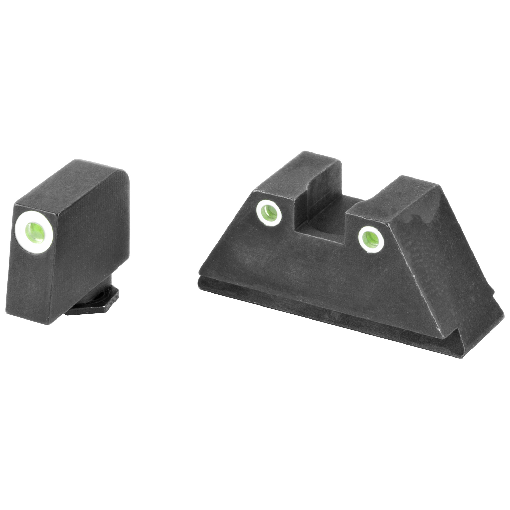 """AmeriGlo suppressor height sets provide an elevated sight picture"""" able to co-witness with slide-mounted miniature red dot optics and suppressors. For more information on how to choose the correct height set for your suppressor or optic"""" visit the AmeriGlo website"""" under the """"INFO"""" tab."""