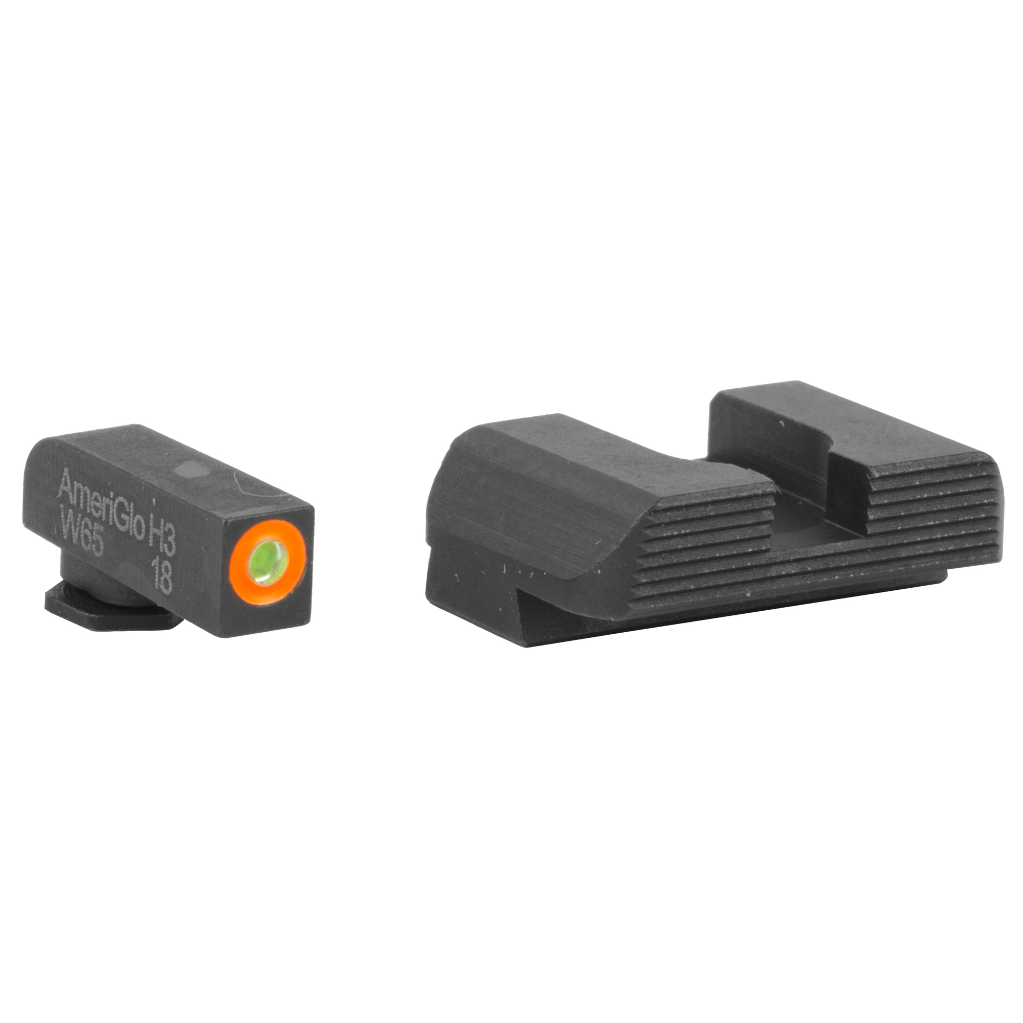 """Employing a glare-reducing black serrated rear sight paired with a tritium ProGlo front sight"""" the Hackathorn Sights are designed for quicker front sight acquisition and maximized concentration on the front sight blade."""