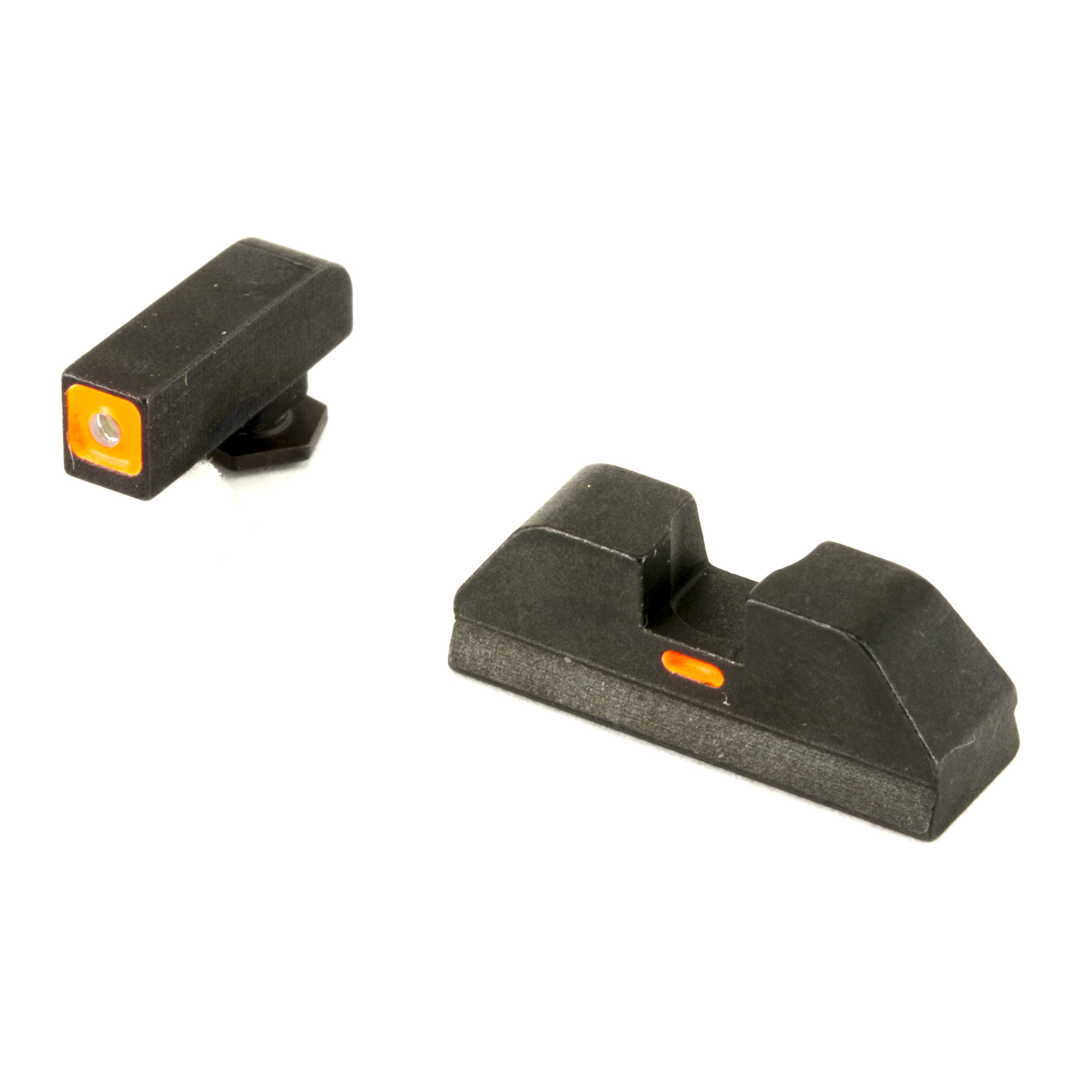"""AmeriGlo CAP (Combat Application Pistol) sets allow the shooter to align a highly visible front post with a brightly colored horizontal paint bar on the rear sight for rapid target acquisition. Point of impact is the A-Box at 15 yards when any portion of the front sight is visible in the rear notch"""" allowing for rapid sight alignment."""