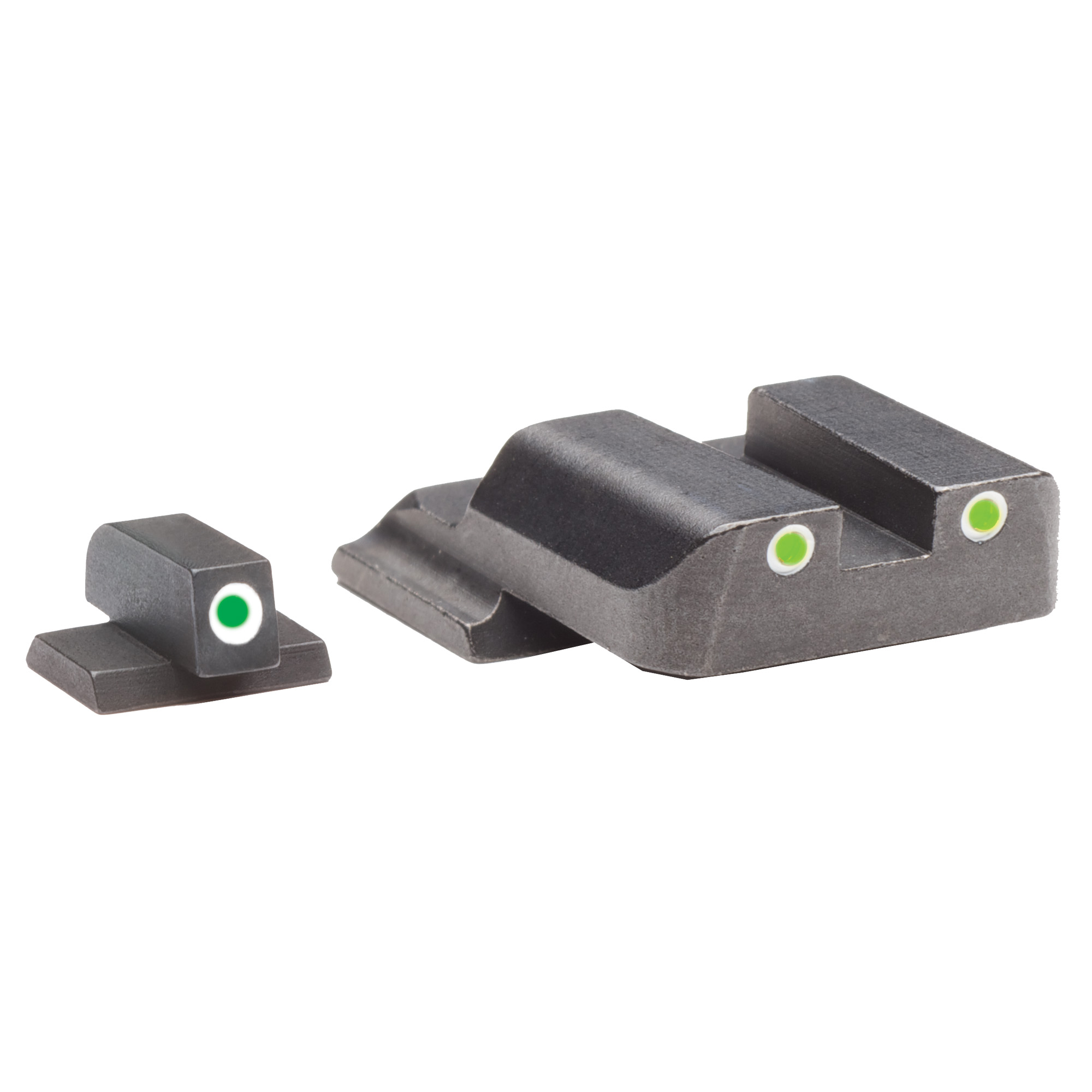 """The Classic 3-dot design is the most popular among personal defense"""" military"""" and law enforcement users. These sets feature a horizontal alignment of tritium dots inside bright white outlines."""