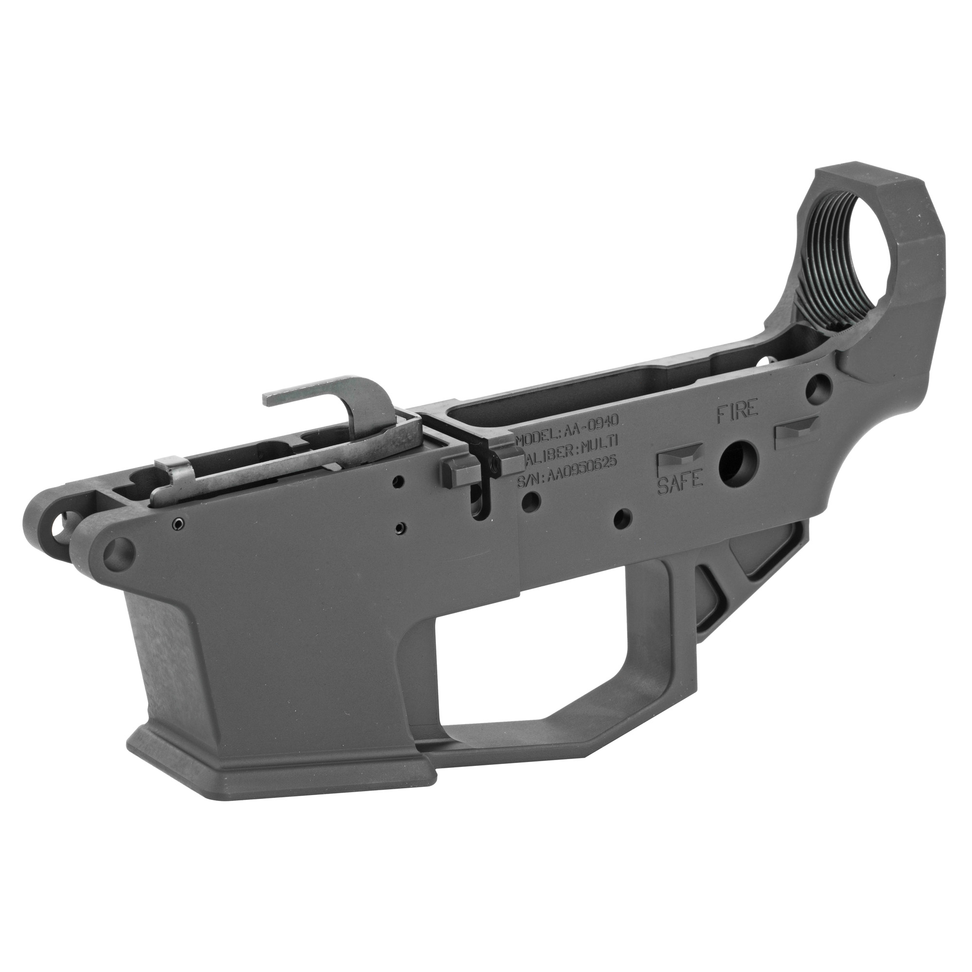 """The Angstadt Arms 0940 lower receiver set is the foundation of a quality pistol caliber AR-15. Machined from a solid block of 7075-T6 billet aluminum"""" the 0940 lower receiver is compatible with 9mm"""" .40 S&W and 357 Sig GLOCK magazines. Featuring standard AR-15 controls and accepting most aftermarket Mil-Spec components"""" the 0940 is instantly familiar to anyone experienced with the AR-15/M4 platform. To aid in reloads"""" the receiver features a flared magazine well and last round bolt hold open design which locks the bolt open on an empty magazine. The lower receiver can be completed with standard mil-spec components."""