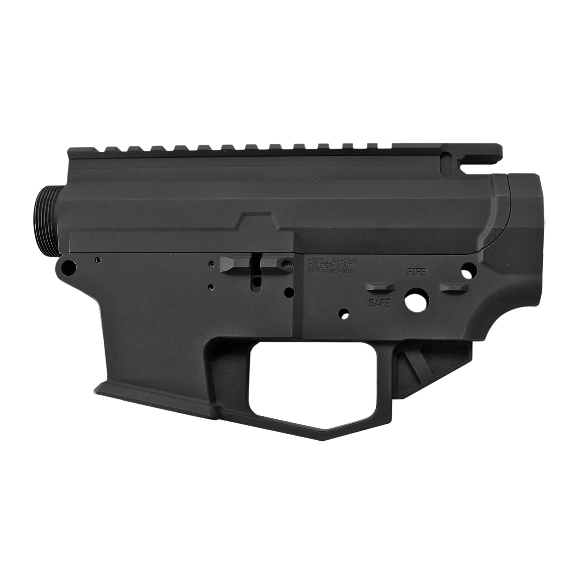 """The Angstadt Arms 0940 matched receiver set is the foundation for a quality pistol caliber AR-15. Machined from a solid block of 7075-T6 billet aluminum"""" the 0940 receiver is compatible with 9mm"""" .40 S&W and 357 Sig GLOCK magazines. Featuring standard AR-15 controls and accepting most aftermarket components"""" the 0940 is instantly familiar to anyone experienced with the AR-15/M4 platform. To aid in reloads"""" the receiver features a flared magazine well and last round bolt hold open design which locks the bolt open on an empty magazine. The slick side upper receiver features an appropriately sized ejection port and no forward assist. The receiver set can be completed with standard mil-spec components."""