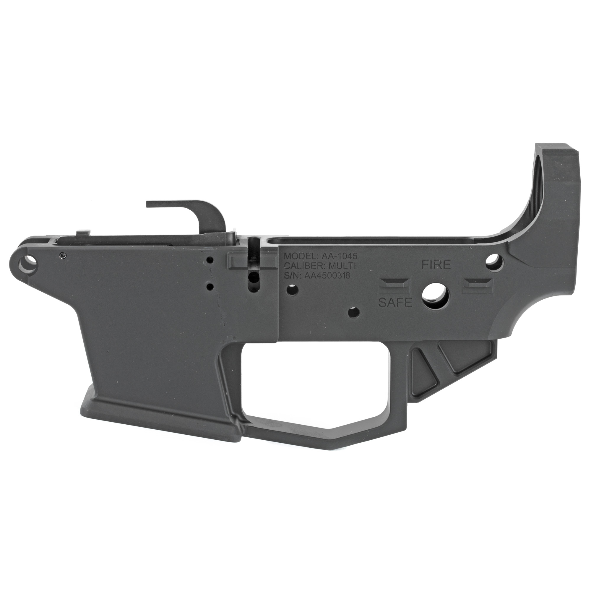 """The Angstadt Arms 1045 lower receiver set is the foundation of a quality pistol caliber AR-15. Machined from a solid block of 7075-T6 billet aluminum"""" the 1045 lower receiver is compatible with 45ACP and 10mm GLOCK magazines. Featuring standard AR-15 controls and accepting most aftermarket Mil-Spec components"""" the 1045 is instantly familiar to anyone experienced with the AR-15/M4 platform. To aid in reloads"""" the receiver features a flared magazine well and last round bolt hold open design which locks the bolt open on an empty magazine. The lower receiver can be completed with standard mil-spec components."""