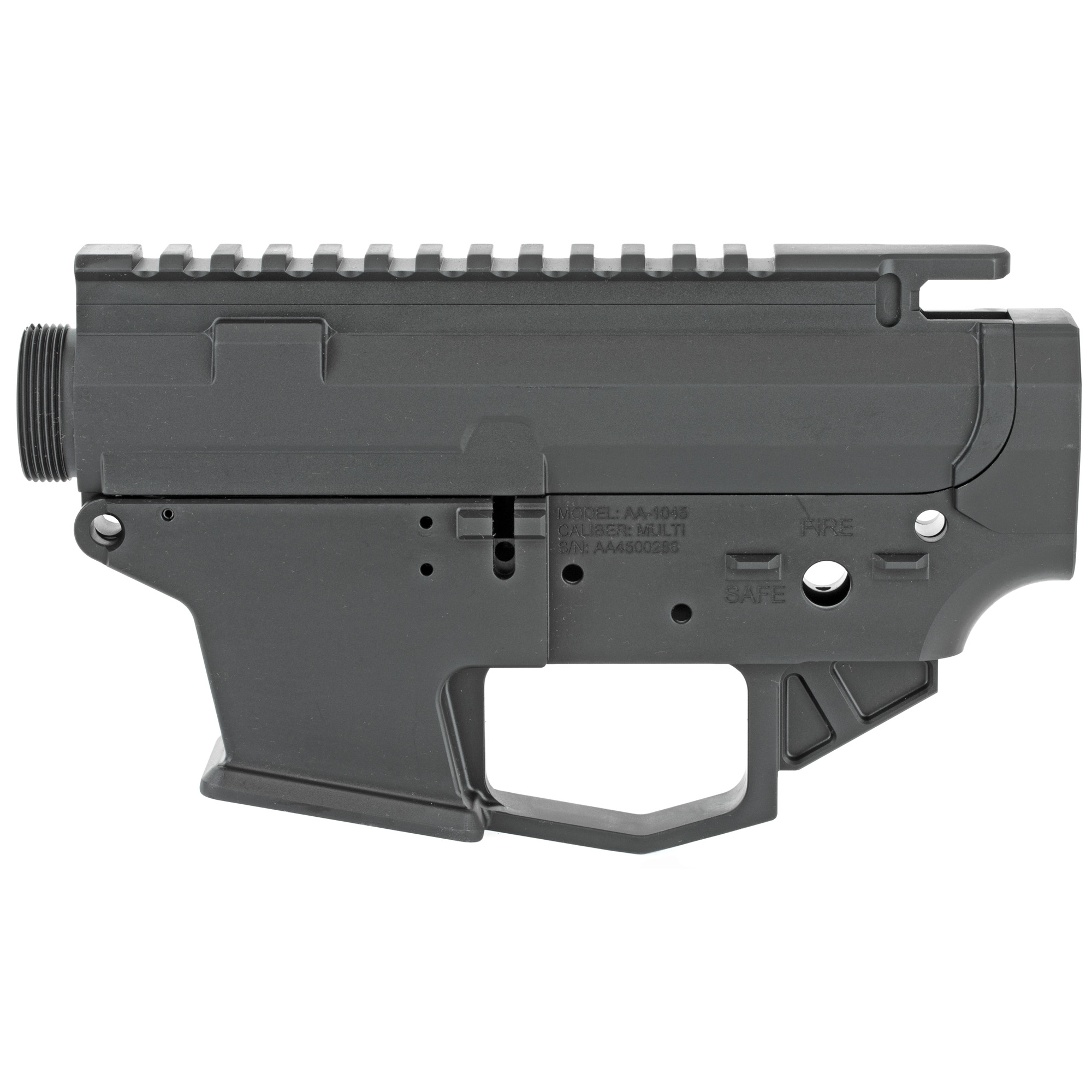 """The Angstadt Arms 1045 matched receiver set is the foundation for a quality pistol caliber AR-15. Machined from a solid block of 7075-T6 billet aluminum"""" the 1045 receiver is compatible with 45ACP and 10mm GLOCK magazines. Featuring standard AR-15 controls and accepting most aftermarket components"""" the 1045 is instantly familiar to anyone experienced with the AR-15/M4 platform. To aid in reloads"""" the receiver features a flared magazine well and last round bolt hold open design which locks the bolt open on an empty magazine. The slick side upper receiver features an appropriately sized ejection port and no forward assist. The receiver set can be completed with standard mil-spec components."""