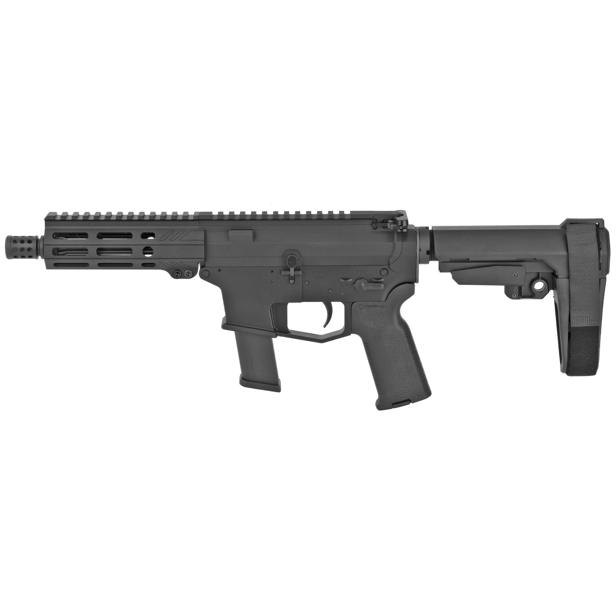 """The UDP-9 Pistol with SB Tactical SBA3 stabilizing brace is a compact AR-9 style firearm chambered in 9mm and fed with GLOCK(R) magazines. It features last round bolt hold open"""" an integrated trigger guard"""" flared magwell and a 5.5"""" free float M-LOK hand guard with a modern"""" ergonomic"""" 7 side design. Machined from 7075-T6 aluminum the UDP-9 comes with a lifetime warranty. Includes one GLOCK(R) OEM 9mm magazine."""