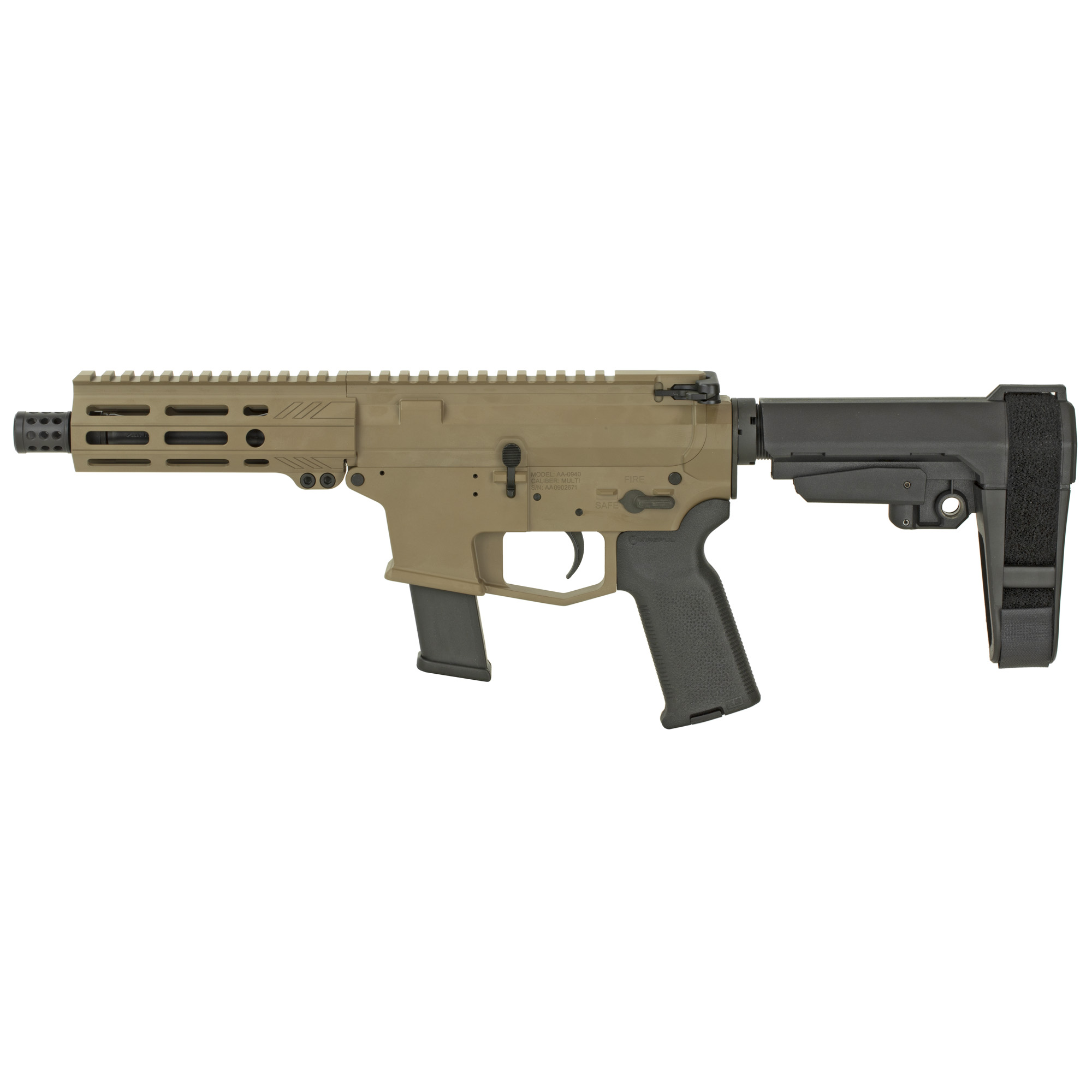 """The UDP-9 Pistol with SB Tactical SBA3 stabilizing brace is a compact AR-9 style firearm chambered in 9mm and fed with GLOCK(R) magazines. It features last round bolt hold open"""" an integrated trigger guard"""" flared magwell and a 5.5"""" free float M-LOK hand guard with a modern"""" ergonomic"""" 7 side design. Machined from 7075-T6 aluminum and finished in a beautiful Magpul(R) Flat Dark Earth (FDE) Cerakote! The UDP-9 comes with a lifetime warranty. Includes one GLOCK(R) OEM 9mm magazine."""