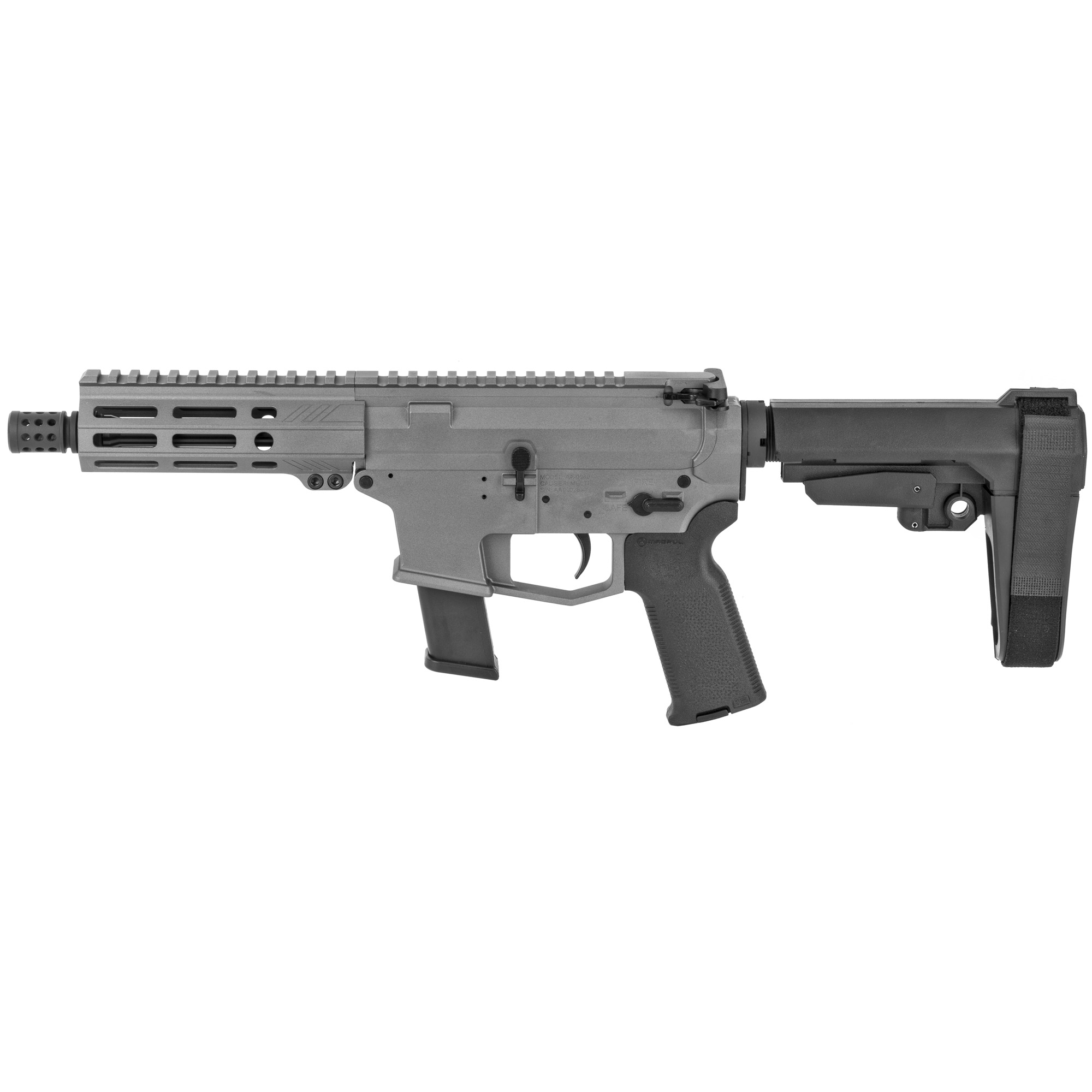 """The UDP-9 Pistol with SB Tactical SBA3 stabilizing brace is a compact AR-9 style firearm chambered in 9mm and fed with GLOCK(R) magazines. It features last round bolt hold open"""" an integrated trigger guard"""" flared magwell and a 5.5"""" free float M-LOK hand guard with a modern"""" ergonomic"""" 7 side design. Machined from 7075-T6 aluminum and finished in a beautiful Tactical Grey Cerakote! The UDP-9 comes with a lifetime warranty. Includes one GLOCK(R) OEM 9mm magazine."""