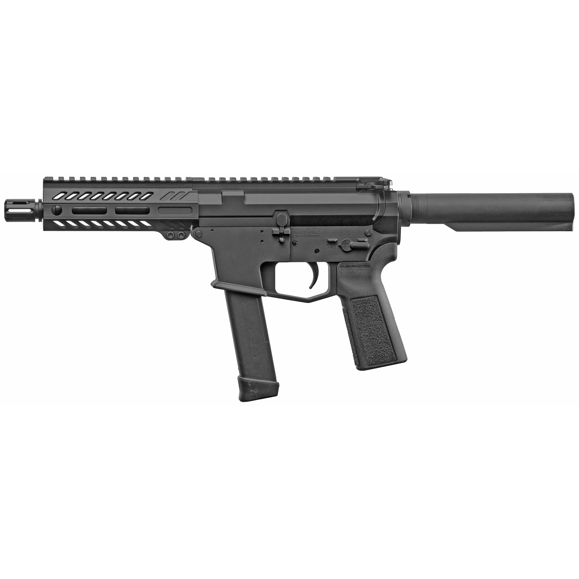 """The UDP-9 Pistol is a compact AR-9 style firearm chambered in 9mm and fed with GLOCK(R) magazines. It features last round bolt hold open"""" an integrated trigger guard"""" flared magwell and a 5.5"""" free float M-LOK hand guard with a modern"""" ergonomic"""" 7 side design. Machined from 7075-T6 aluminum the UDP-9 comes with a lifetime warranty. Includes one GLOCK(R) OEM 9mm magazine."""