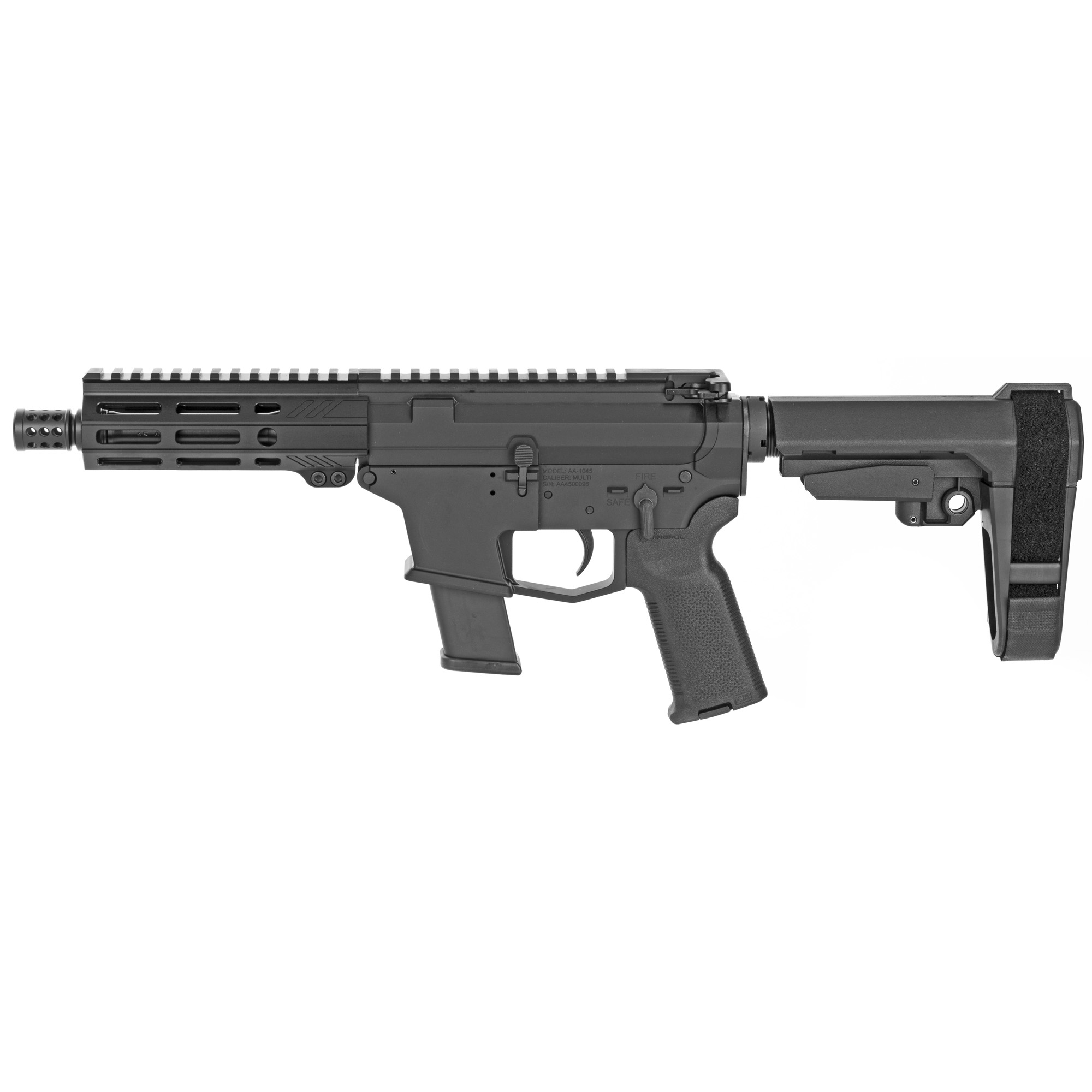 """The UDP-45 Pistol with SB Tactical SBA3 stabilizing brace is a compact AR-45 style firearm chambered in 45ACP and fed with GLOCK(R) magazines. It features last round bolt hold open"""" an integrated trigger guard"""" flared magwell and a 5.5"""" free float M-LOK hand guard with a modern"""" ergonomic"""" 7 side design. Machined from 7075-T6 aluminum the UDP-45 comes with a lifetime warranty. Includes one GLOCK(R) OEM 45acp magazine."""