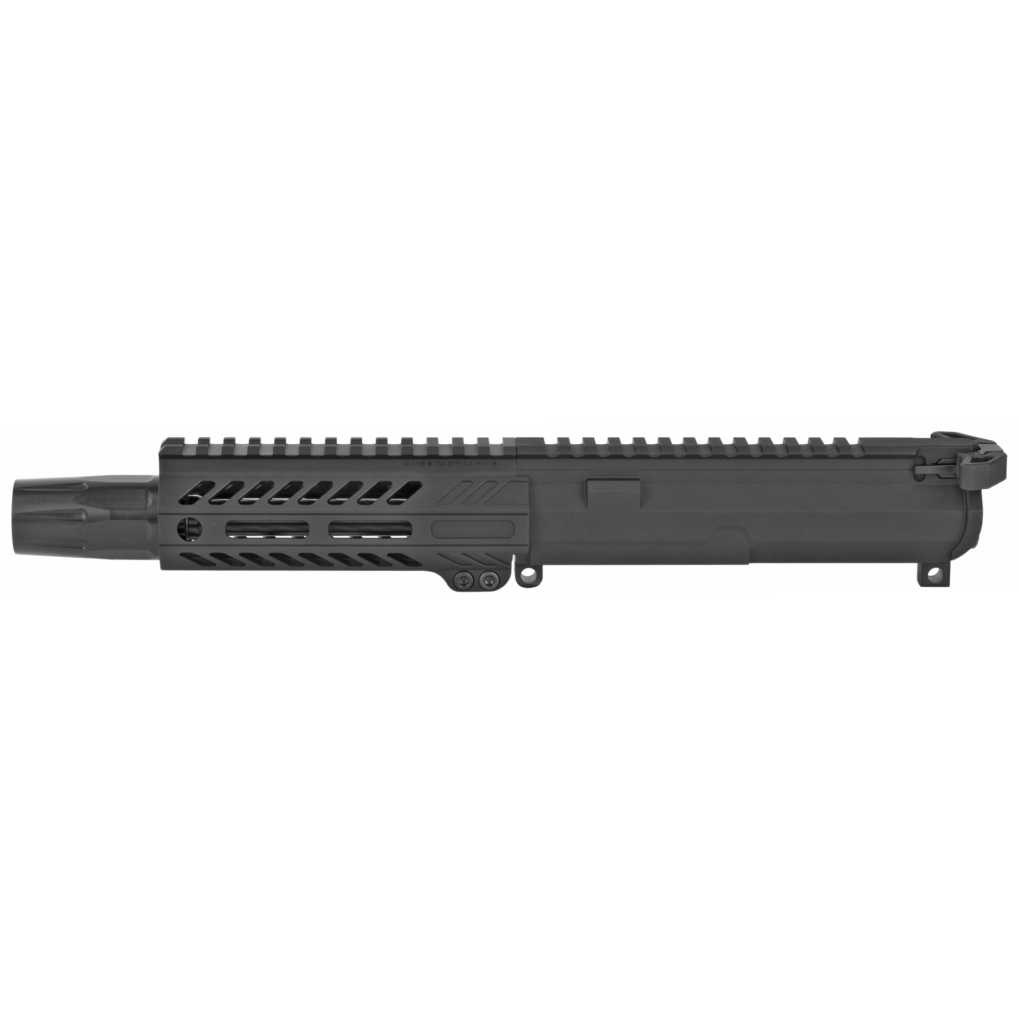 """Angstadt Arms complete upper receiver assembly is ready to run out of the box with a sound suppressor! This pistol upper features a 9mm 3-lug muzzle brake"""" Blastwave blast shield and Radian Weapons Ambidextrous charging handle. Compatible with any 9mm GLOCK(R) and COLT(R) style AR-15 lower receiver. Complete 9mm upper receiver assembly with 6"""" barrel"""" 5.5"""" ultra light hand guard and Radian ambi charging handle. Ready to run with a 9mm sound suppressor via 3-lug."""