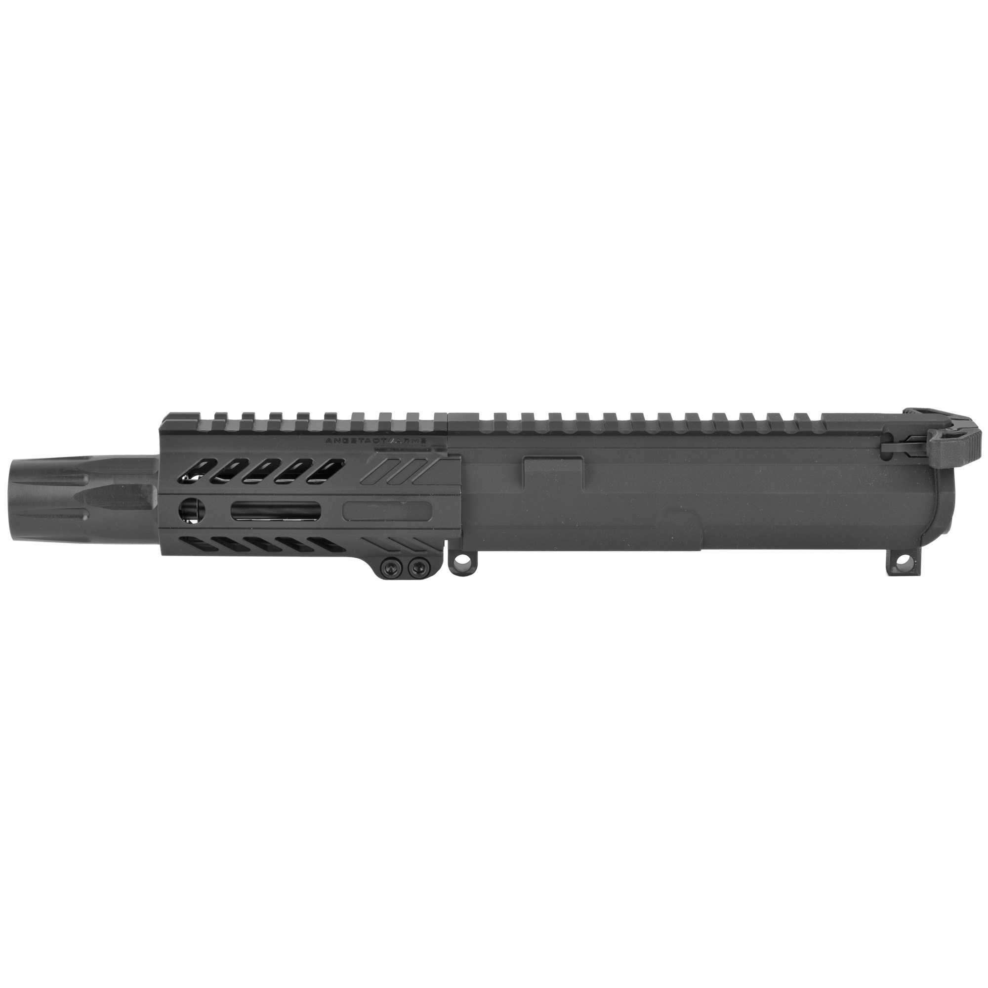 """Angstadt Arms complete upper receiver assembly is ready to run out of the box with a sound suppressor! This pistol upper features a 9mm 3-lug muzzle brake"""" Blastwave blast shield and Radian Weapons Ambidextrous charging handle. Compatible with any 9mm GLOCK(R) and COLT(R) style AR-15 lower receiver. Complete 9mm upper receiver assembly with 4.5"""" barrel"""" 4"""" ultra light hand guard and Radian ambi charging handle. Ready to run with a 9mm sound suppressor via 3-lug."""