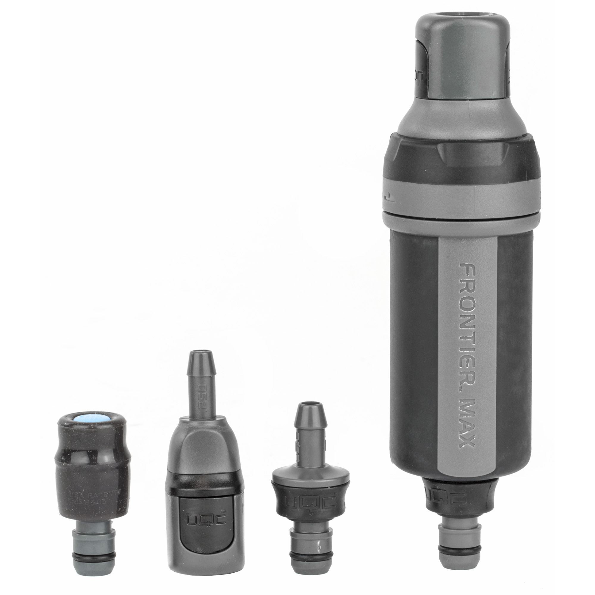 """The Aquamira Frontier Max is the only outdoor and tactical filter system"""" good for 1000 gallons of field use. Series IV Connectivity lets you customize the Max with any Series IV filter cartridge. UQC fittings allow you to connect the Max with the Aquamira hydration engine and pressurize for on-the-go"""" plug-and-play in-line filtration anywhere. The Aquamira Frontier Max is the most versatile inline filter available on the market today. The Aquamira Series IV GRN Line Backcountry filter included with the Max is good for the removal of bacteria"""" Cryptosporidium and Giardia for 1000 gallons of use. It proudly boasts a flow rate of up to 800 ml/min for immediate thirst protection. Aquamira Series IV connectivity allows you to customize the Max with any Series IV filter cartridge for use in emergencies"""" international travel"""" backcountry excursions or anywhere the water may be of questionable biological or chemical quality. The patented UQC connectors make it simple to plug into any hydration pack or inline system without a need to replace your current connectors. Plug in the patented Bite Me valve to convert your MAX into a straw filter. For a complete"""" high-performance system combine the Aquamira Frontier Max with the award winning Geigerrig pressurized hydration engine for easy"""" on-the-go"""" plug-and-play in-line water filtration anywhere and anytime you need it."""