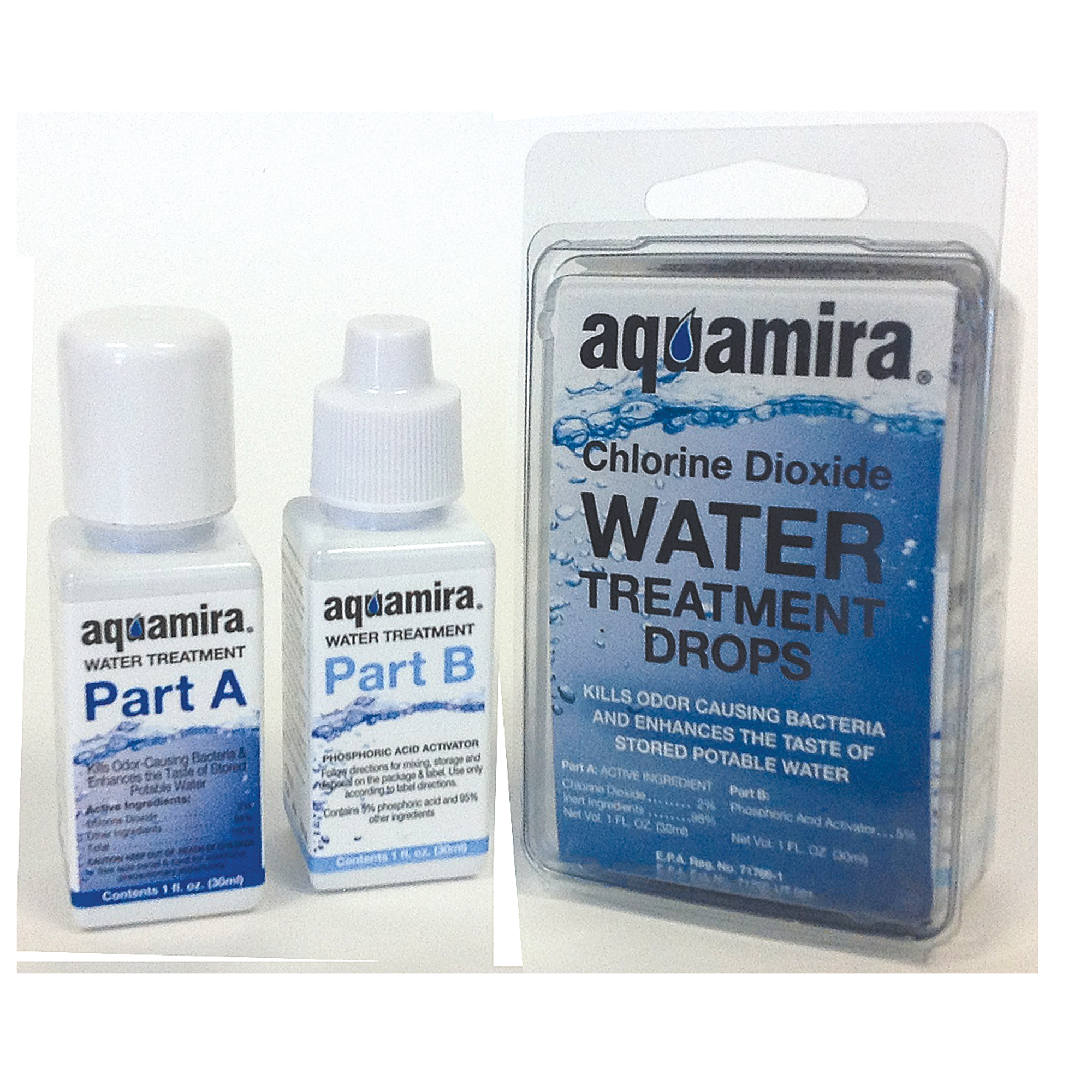 """Aquamira 1 oz. Water Treatment (Chlorine Dioxide) kills bacteria while enhancing the taste of treated water. Everything you need to treat 30 gallons in the field comes in a compact"""" lightweight kit and works in virtually every situation. It's so effective"""" even the CDC recommends Chlorine Dioxide as the most comprehensive water treatment available. Aquamira Water Treatment effectively kills bacteria and enhances the taste of treated water. Unlike iodine or other treatments"""" Aquamira won't discolor your water and improves taste. It's no wonder why the CDC recommends using Chlorine Dioxide for treating water in the backcountry. Aquamira's EPA registered chlorine dioxide formula has consistently proven to be effective in clear"""" muddy"""" warm and cold water. Small size"""" portability and long shelf life allows this highly effective treatment method to be easily carried and used by individuals anywhere in the world. Each kit contains everything you need to treat up to 30 gallons of water."""
