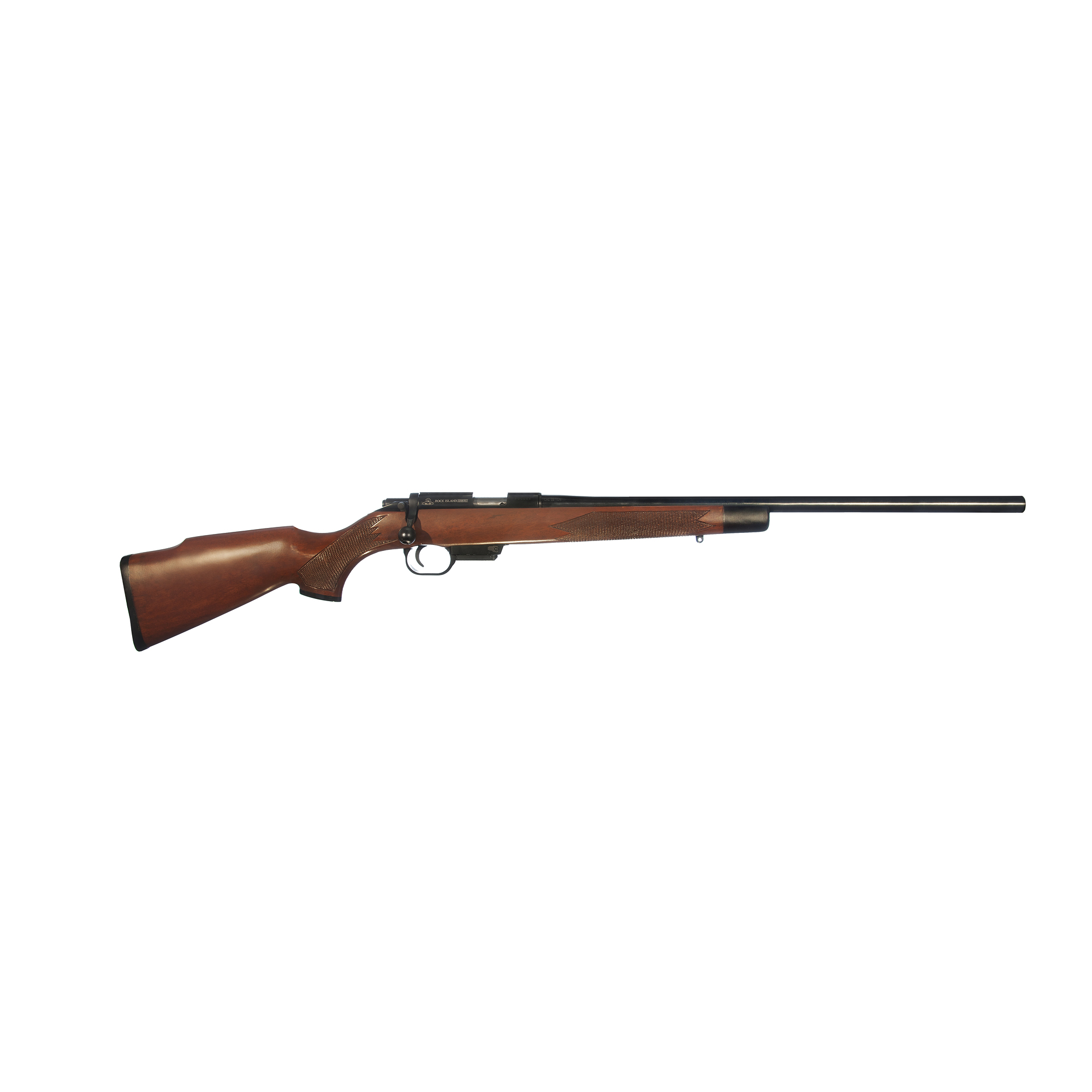 """Rock Island Armory takes the success and popularity of the 22 TCM cartridge and combines it with the M22 TCM bolt action rifle. This rifle is a small game hunter's dream"""" capable of delivering a 40 grain projectile over 2""""800 feet per second out of a 22.75"""" barrel."""